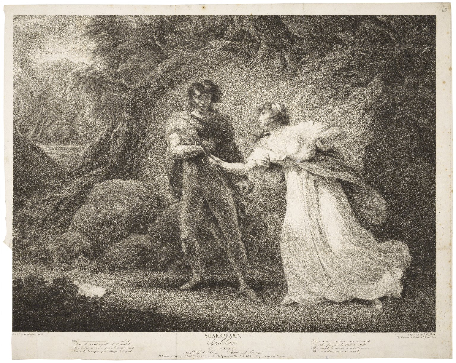Cymbeline, Act III, scene IV, near Milford Haven: Pisanio and Imogen ... [graphic] / painted by J. Hoppner ; engraved by Robt. Thew.