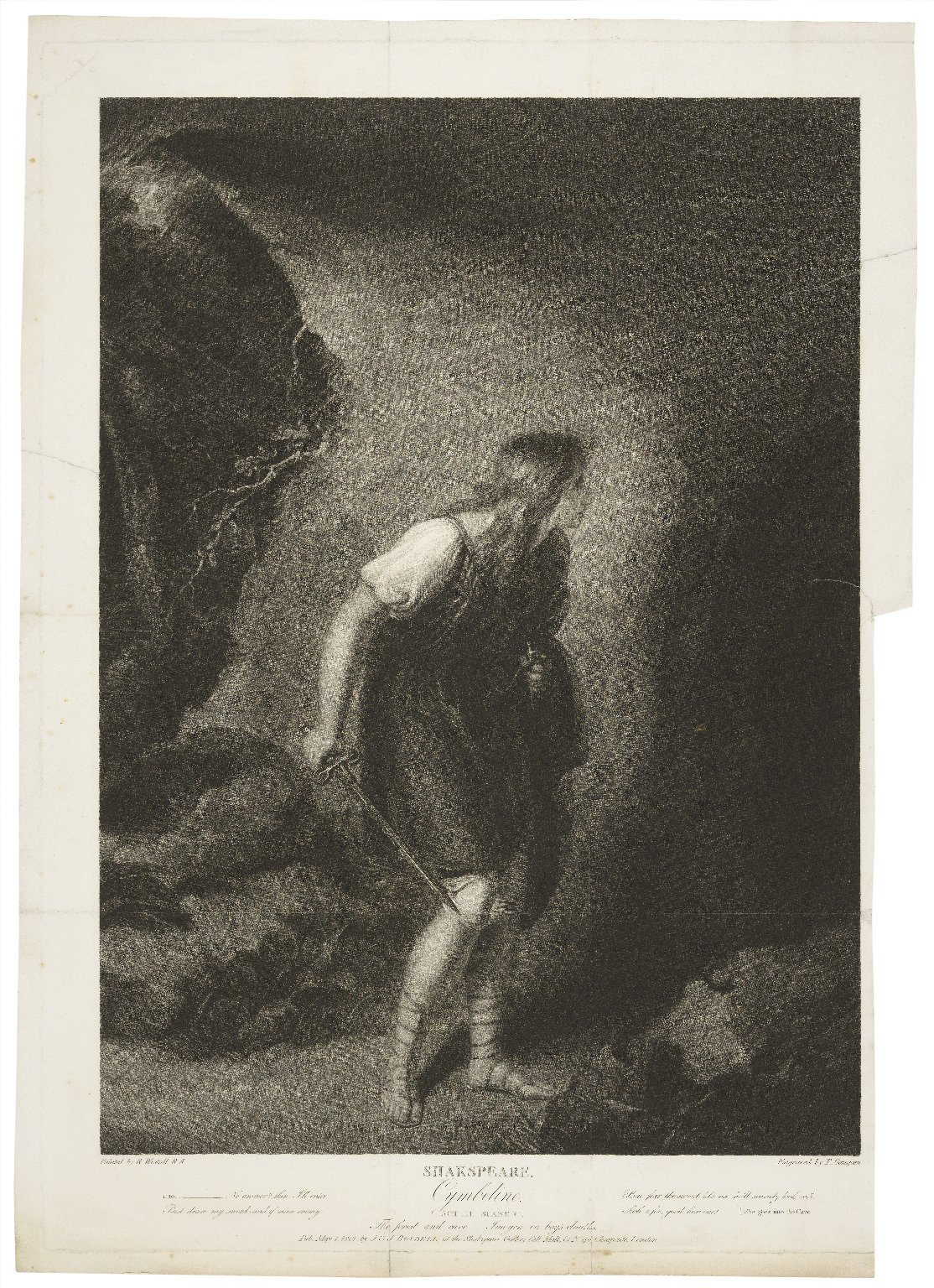 Cymbeline, act III, scene VI, the forest and cave, Imogen in boy's cloaths [sic] [graphic] / painted by R. Westall ; engraved by T. Gaugain.