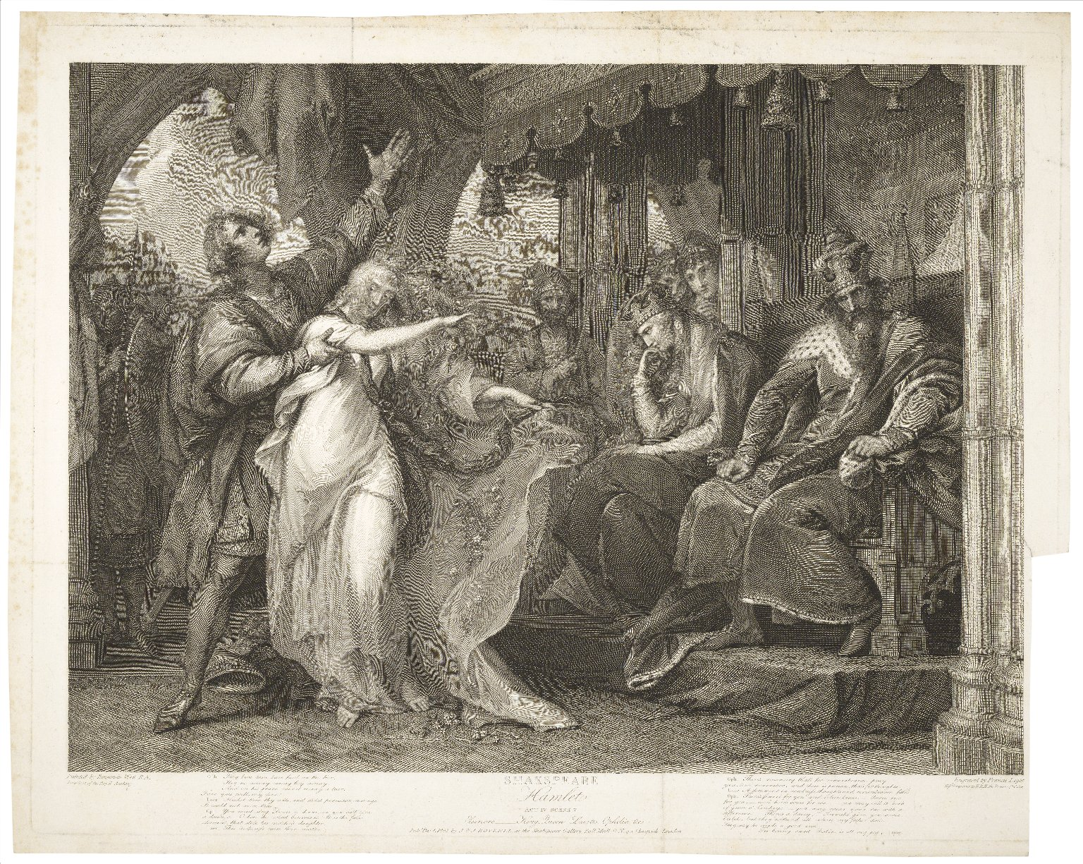 Hamlet, act IV, scene V, Elsinore-King, Queen, Laertes, Ophelia, &c. [graphic] / painted by Benjamin West ; engraved by Francis Legat.