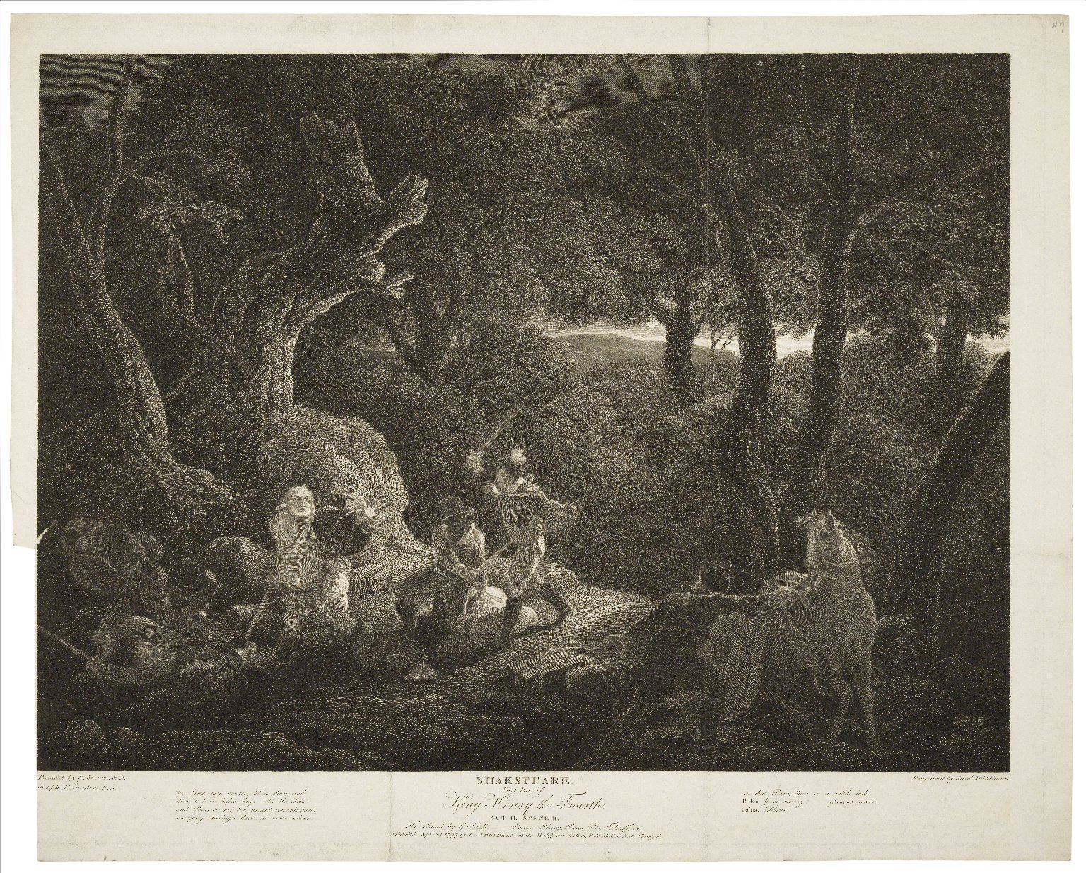 First part of King Henry the Fourth, act II, scene II, the road by Gadshill [graphic] / painted by R. Smirke & Joseph Farington ; engraved by Saml. Middiman.