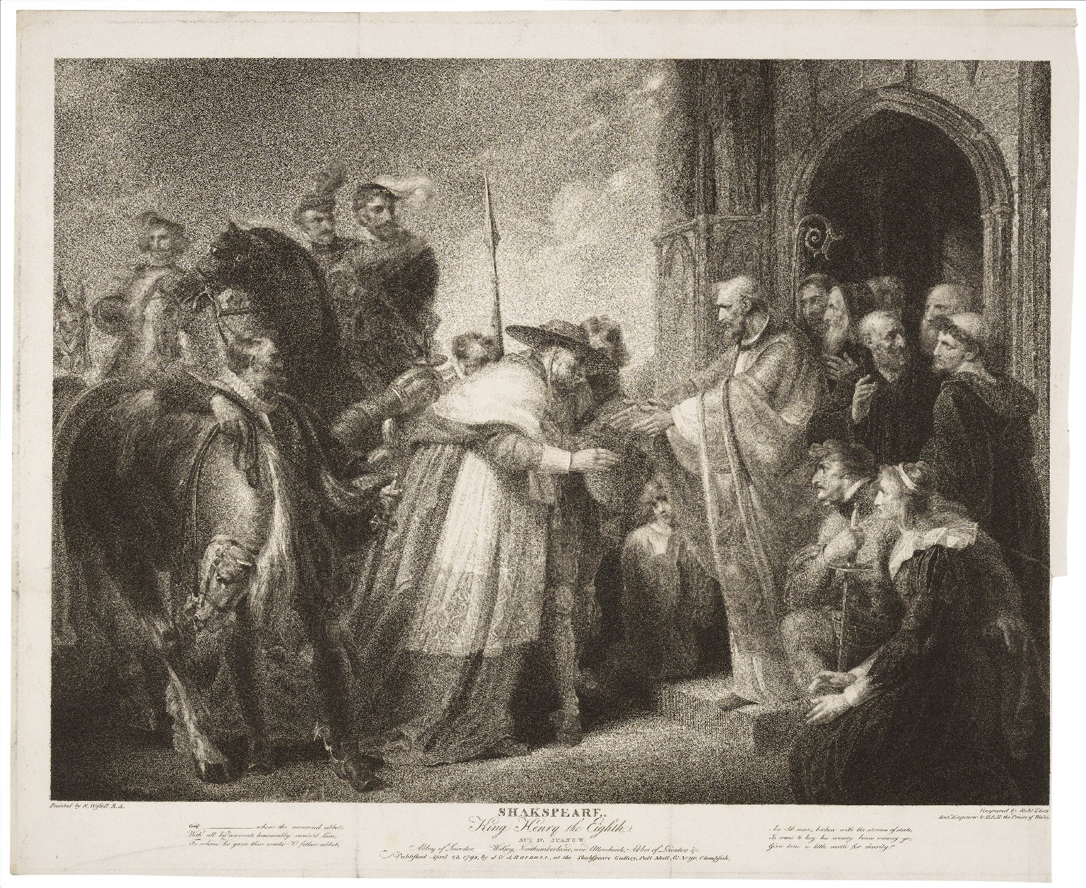King Henry the Eighth, act IV, scene II, Abbey of Leicester [graphic] / painted by R. Westall ; engraved by Robt. Thew.