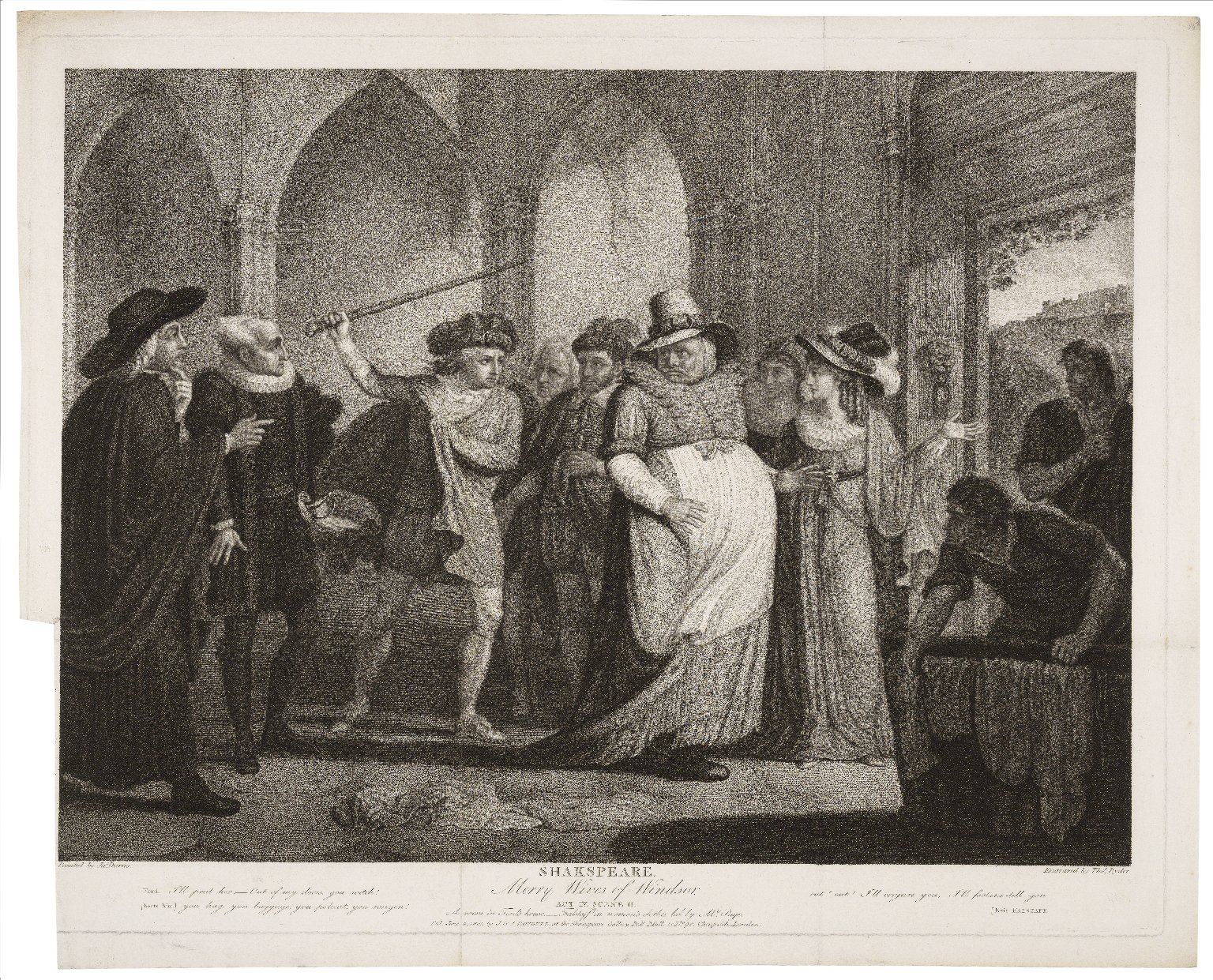 ...Merry wives of Windsor, act IV, scene 2, A room in Ford's House ; Falstaff in women's clothes led by Mrs. Page [graphic] / painted by Jas. Durno ; engraved by Thos. Ryder.