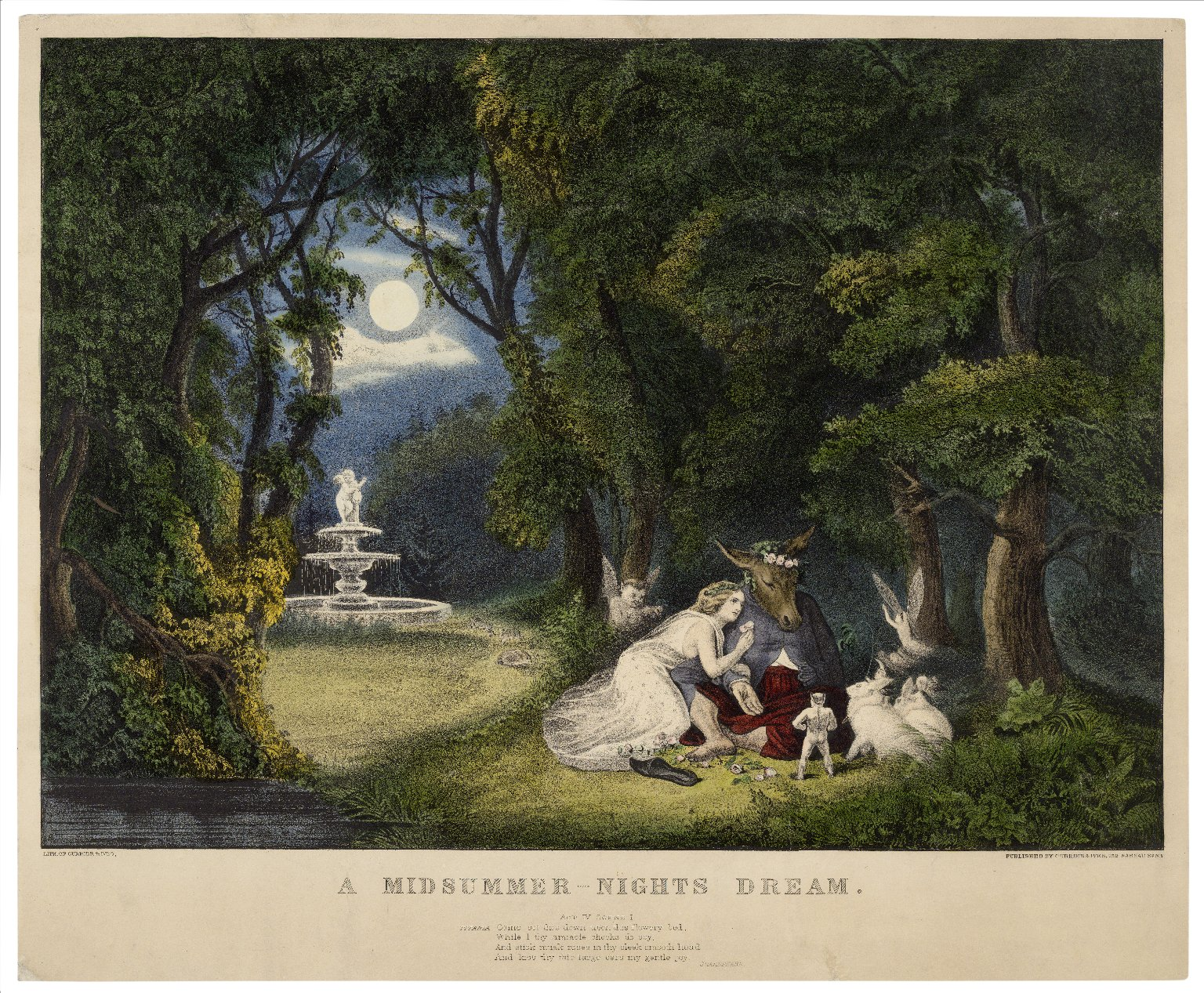 A midsummer-night's dream: act IV, scene 1: Titania: Come set thee down upon this flowery bed [graphic] / lith. of Currier & Ives.