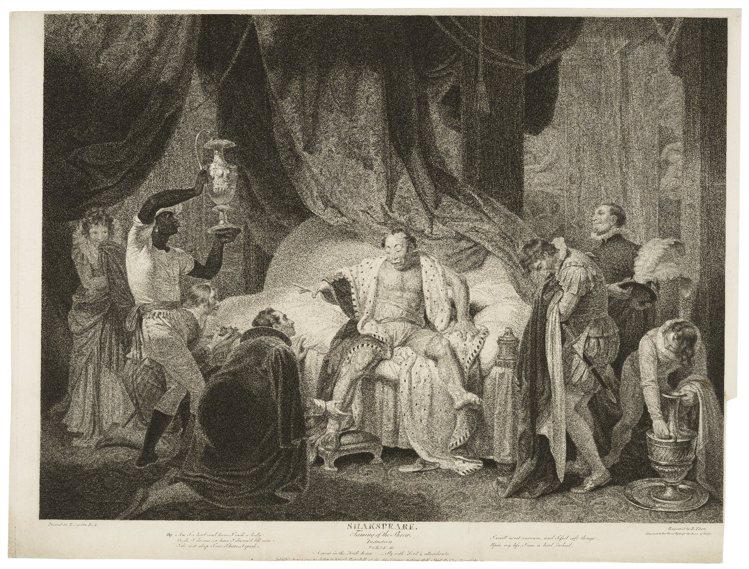 Taming of the shrew, induction, scene II, Sly with lords & attendants [graphic] / painted by R. Smirke ; engraved by R. Thew.