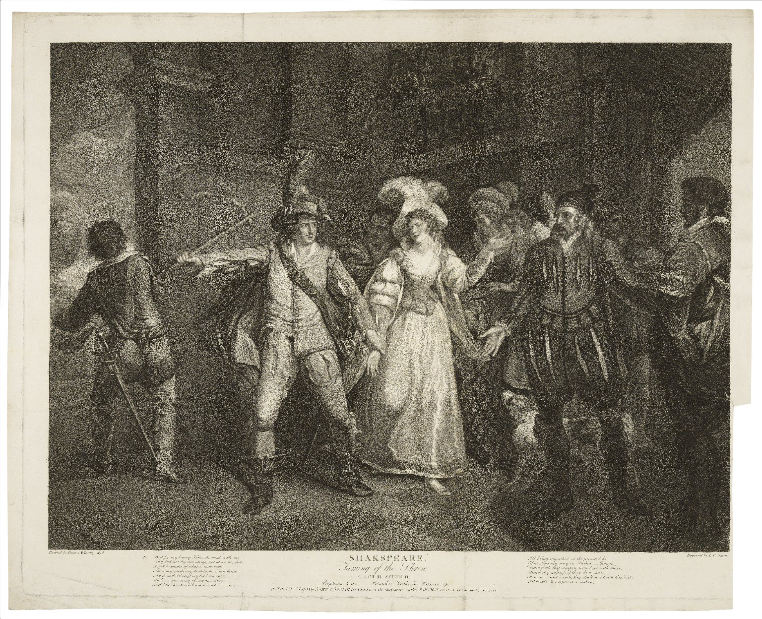 Taming of the shrew, act II, scene II, Baptista's house-- Petruchio, Katherine, Bianca, &c. [graphic] / painted by Francis Wheatley ; engraved by I.P. Simon.