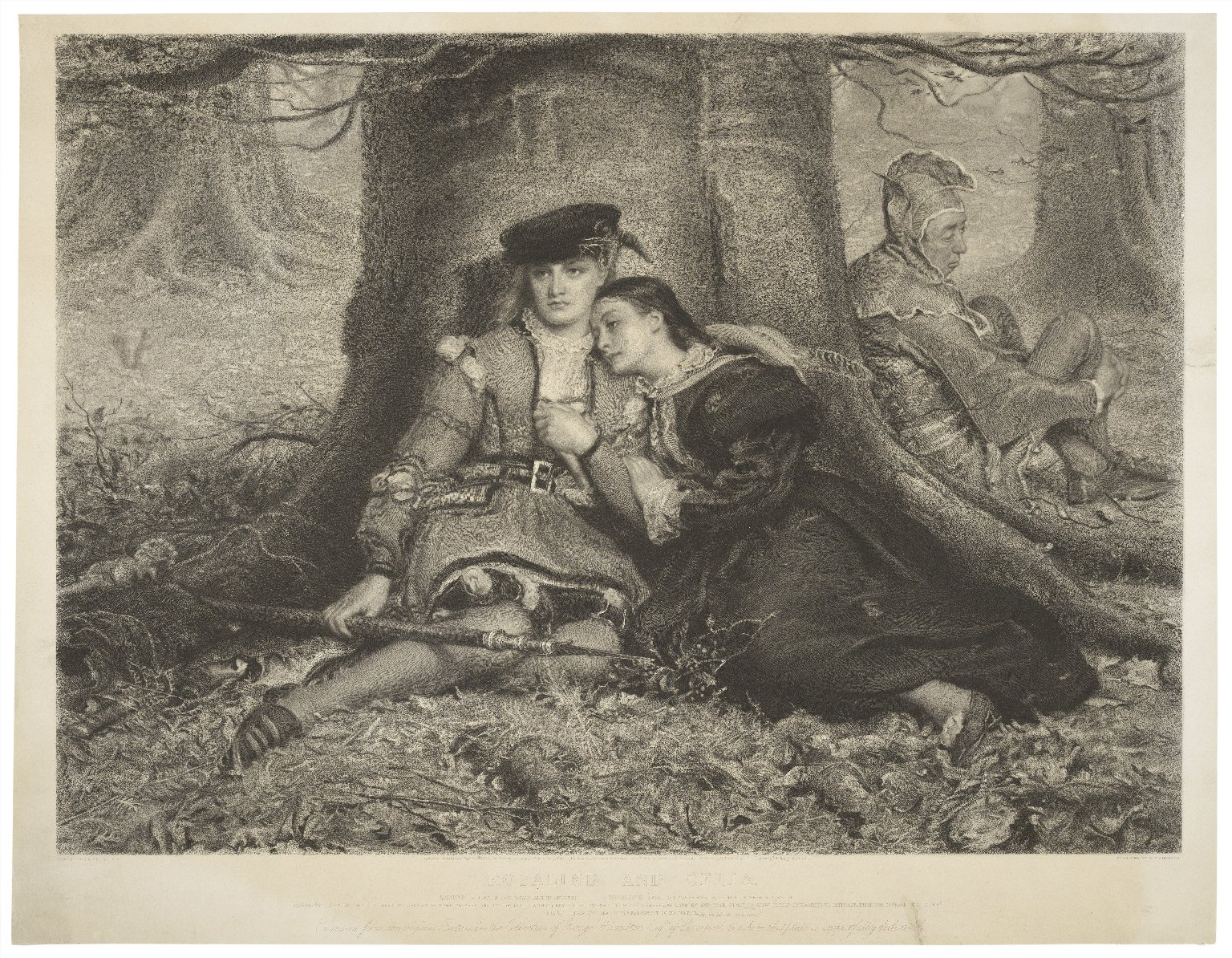 Rosalind and Celia... As you like it, Act II, sc. iv [graphic] / painted by J. E. Millais ; engraved by W. H. Simmons.