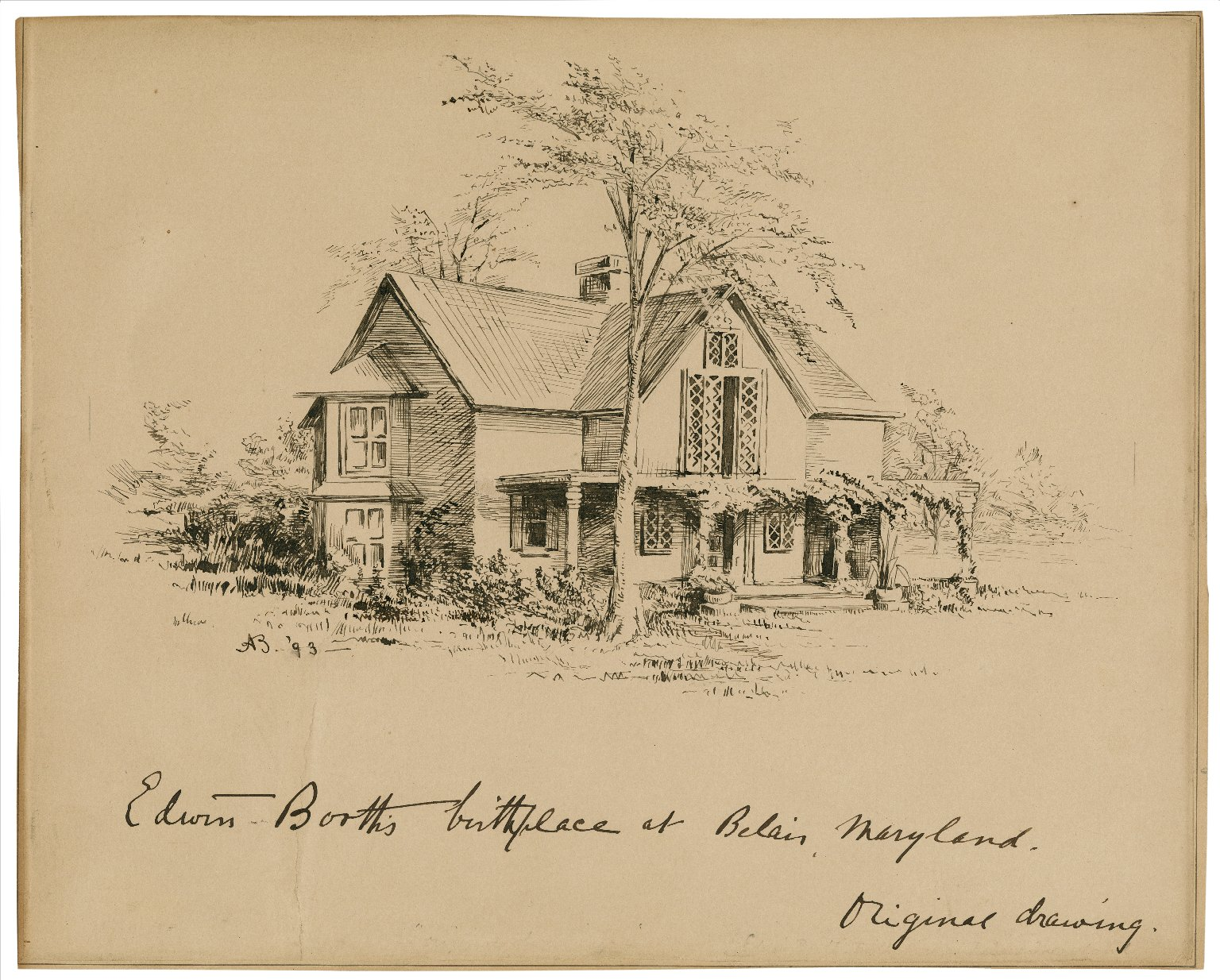 Edwin Booth's birthplace [sic] at Belair, Maryland [graphic] / [AB].