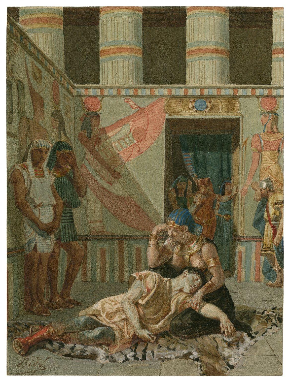 [Antony and Cleopatra, IV, 15, Cleopatra holds the dead Antony] [graphic] / [Alexandre Bida].