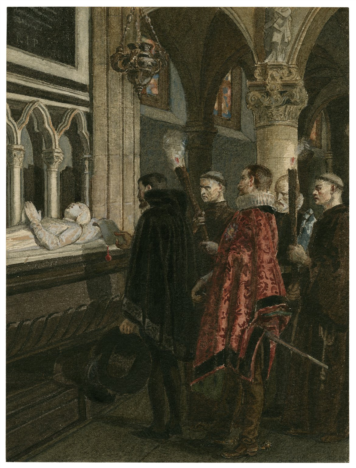 [Much ado about nothing, V, 3, The penitent Claudio, Don Pedro, etc. at the supposed tomb of Hero] [graphic] / [Alexandre Bida].