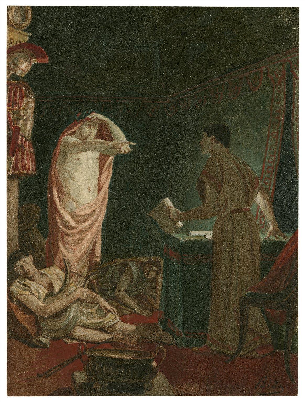 [Julius Caesar, IV, 3, The ghost of Caesar with Brutus] [graphic] / [Alexandre Bida].