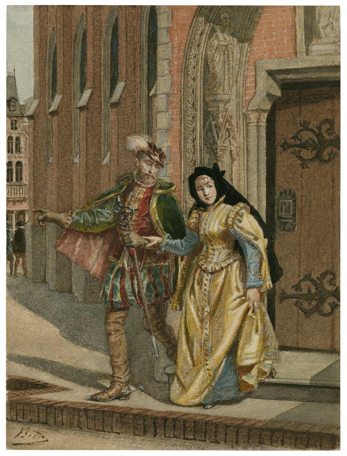 [Two gentlemen of Verona, V, 1, Eglamour and Silvia leave the abbey] [graphic] / [Alexandre Bida].