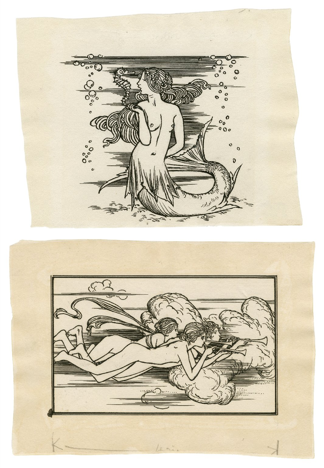 [Decorative head- and tail-piece to page 24 of Bell's edition of The tempest] [graphic] / [Robert Anning Bell].