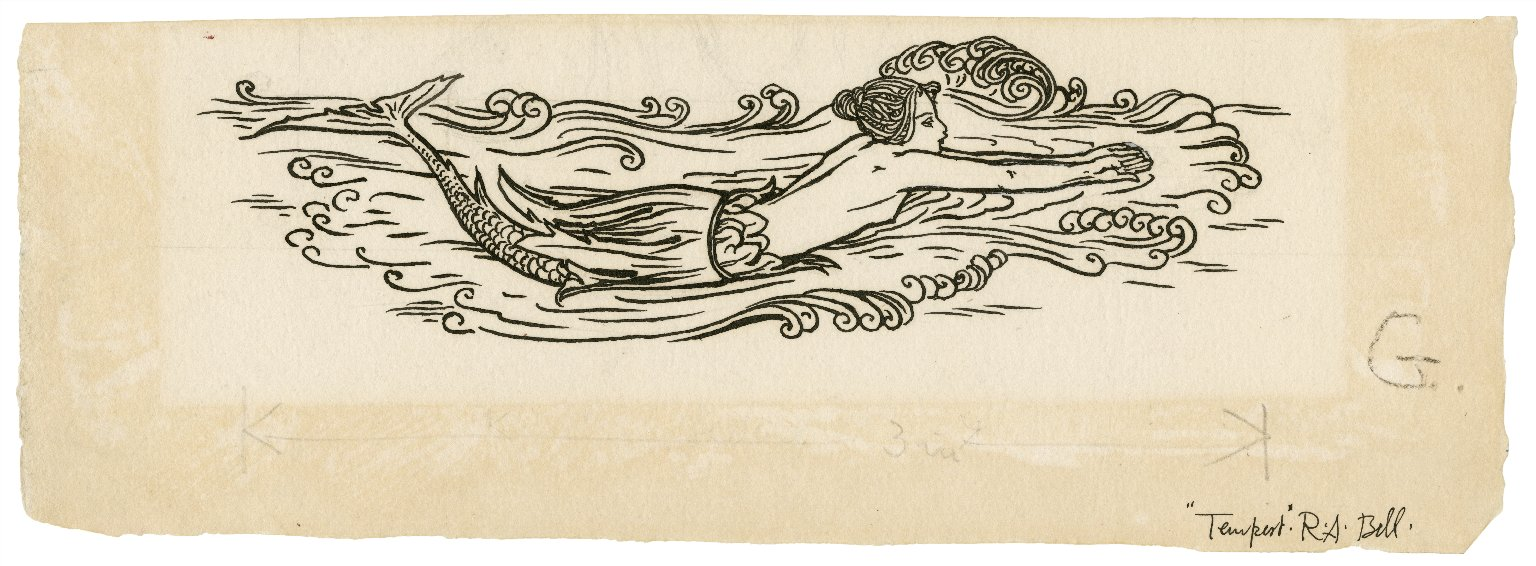 [Decorative design of a swimming mermaid] [graphic] / R.A. Bell.