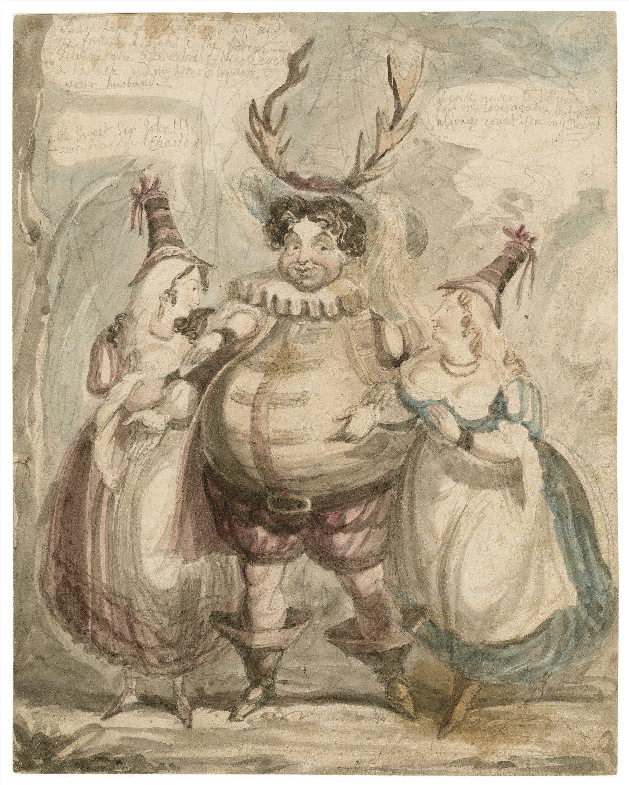 """Sir John Falstaff and the Merry wives of Windsor, scene 3, Herne's Oak, """"I am here a Windsor stag and the fattest I think..."""" [V, 5] [graphic] / [Henry William Bunbury]."""