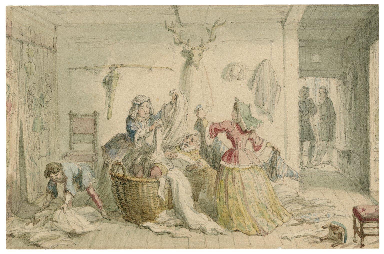 [Merry wives of Windsor, III, 3, Sir John Falstaff in the buck basket] [graphic] / [George Cruikshank].