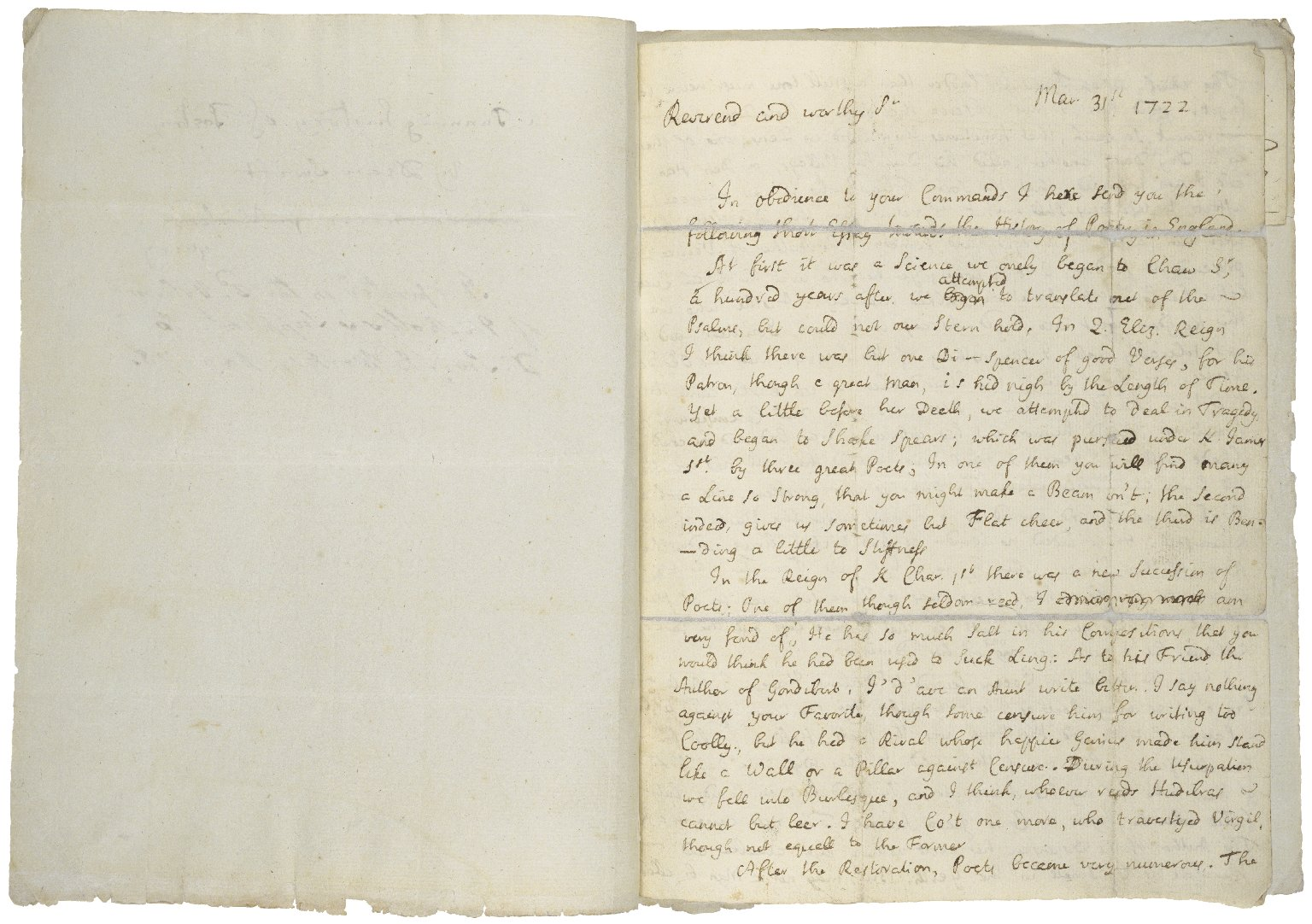 A history of poetry ... [manuscript], 1722 March 31.