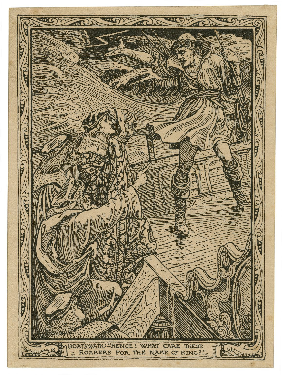 """Boatswain: """"Hence! What care these roarers for the name of king?"""" [Tempest, act I, scene I] [graphic] / C."""