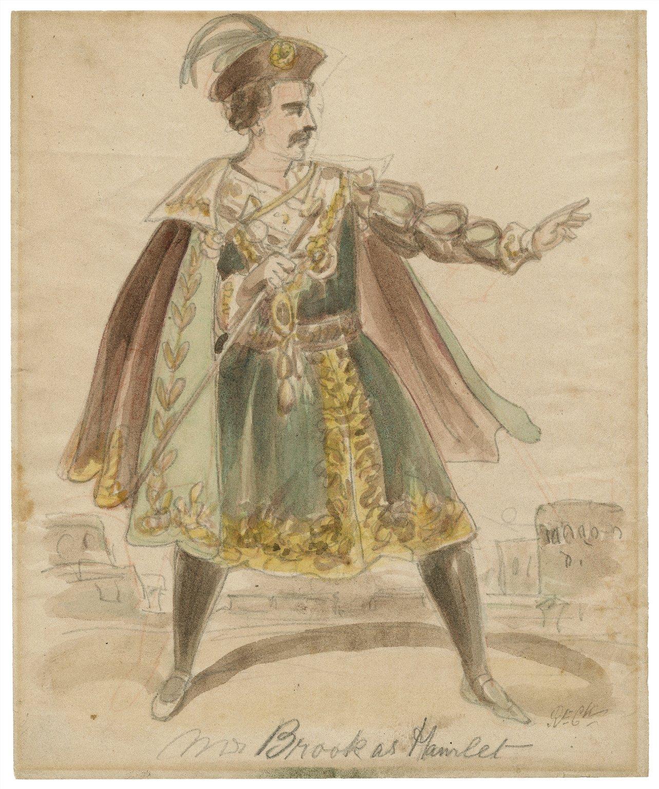 Mr. Brook [sic] as Hamlet [graphic] / [Issac Robert Cruikshank, probable artist].