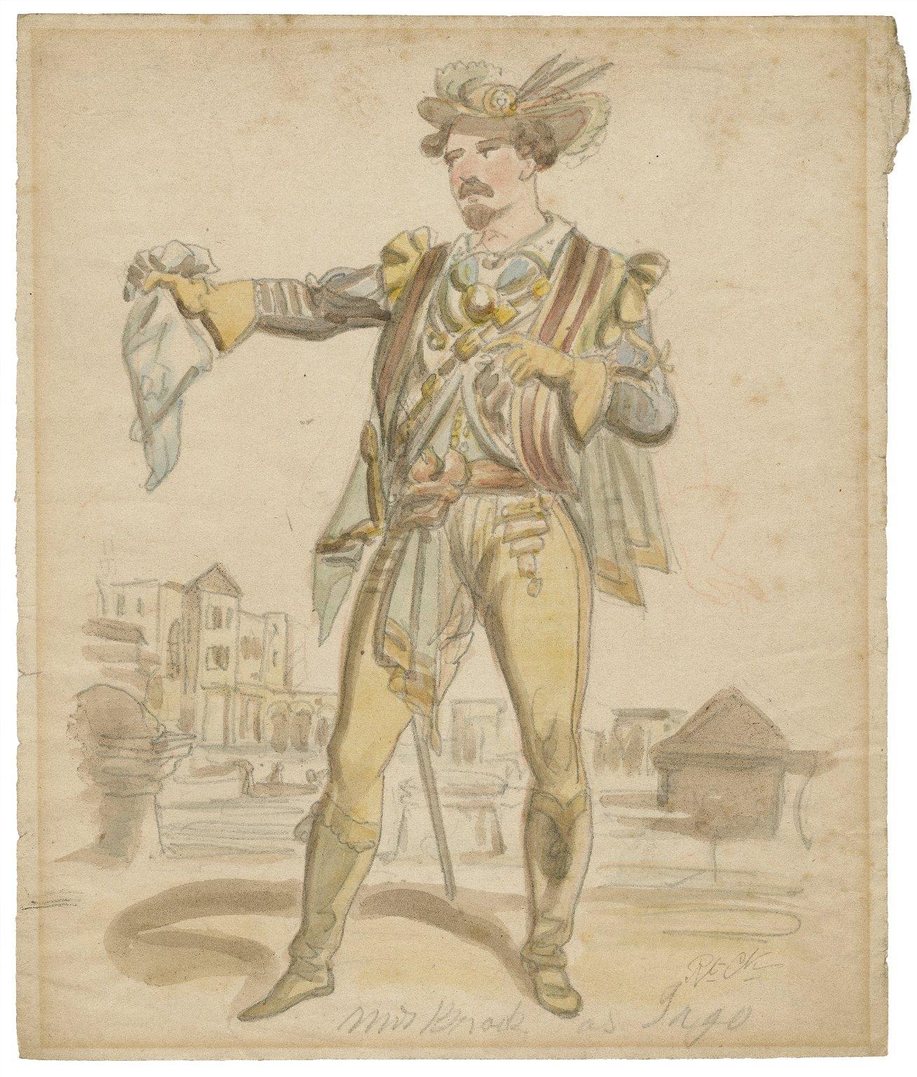 Mr. Brook [sic] as Iago [graphic] / [Issac Robert Cruikshank, probable artist].