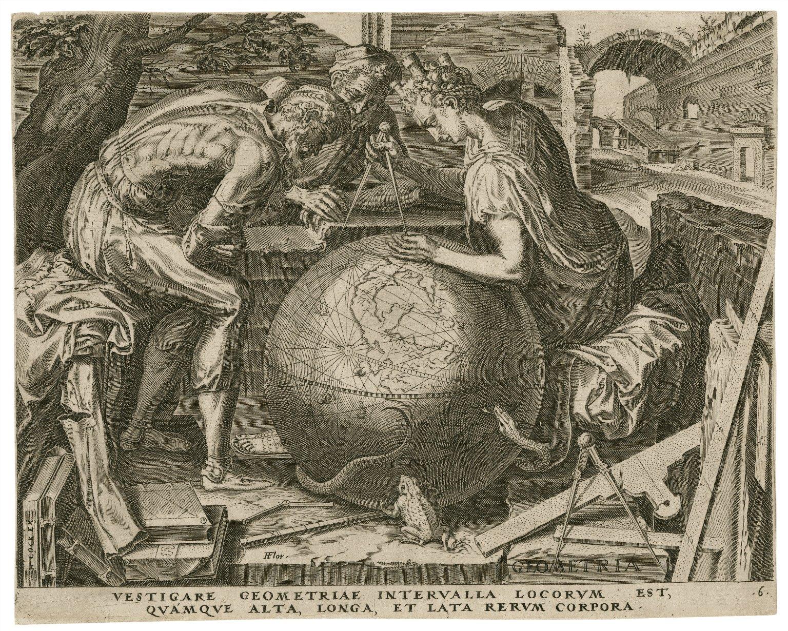 Vestigare geometriae interualla locorum est, quamque alto, longa, et lata rerum corpora [graphic] / F. Flor.