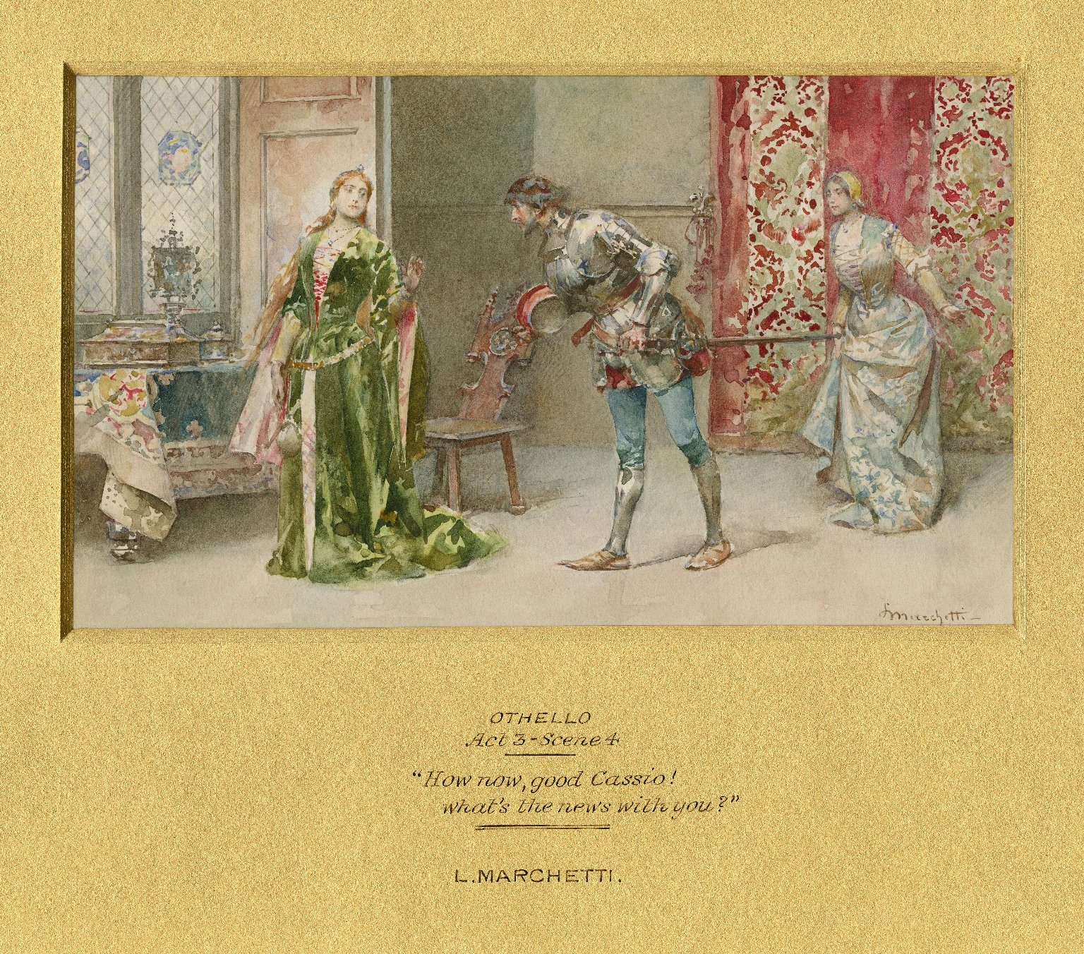 """Othello, Act 3, scene 4, """"How now good Cassio! what's the news with you?"""" [graphic] / L. Marchetti."""