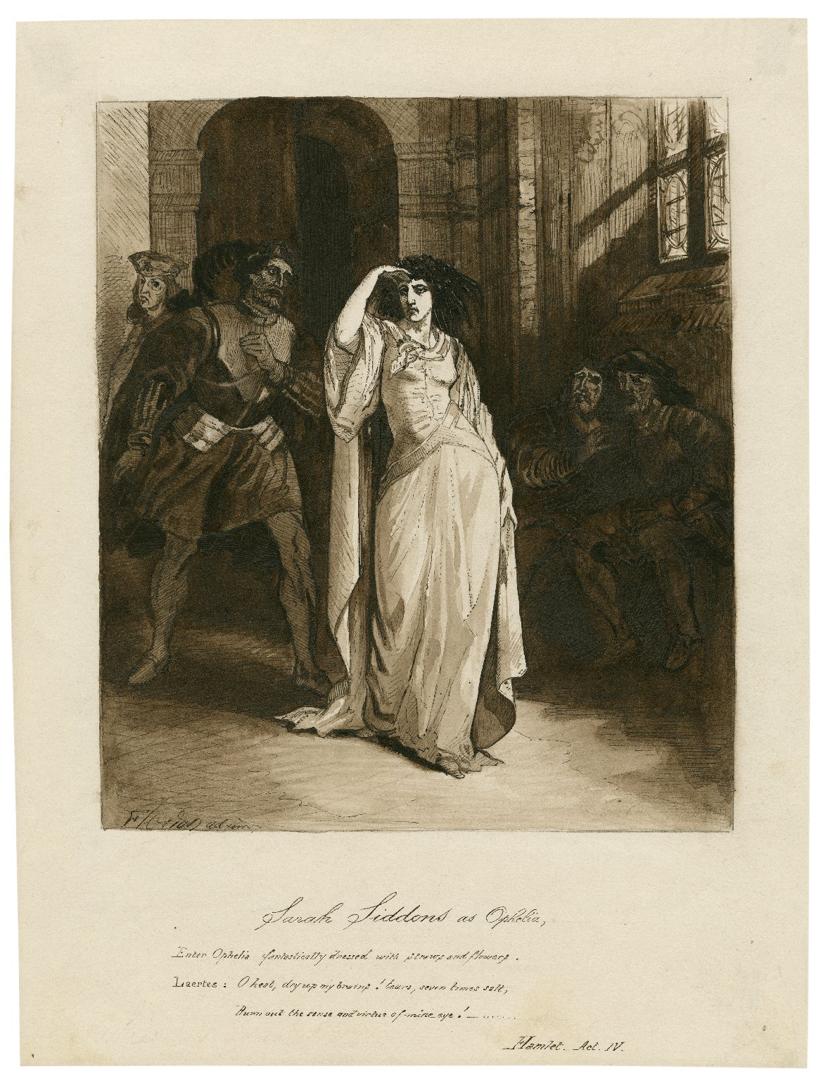 """Sarah Siddons as Ophelia in Shakespeare's Hamlet. Enter Ophelia, fantastically dressed with straws and flowers. Laertes: """"O heat, dry up my brains! tears, seven times salt, burn out the sense and virtue of mine eye!..."""" [graphic]."""