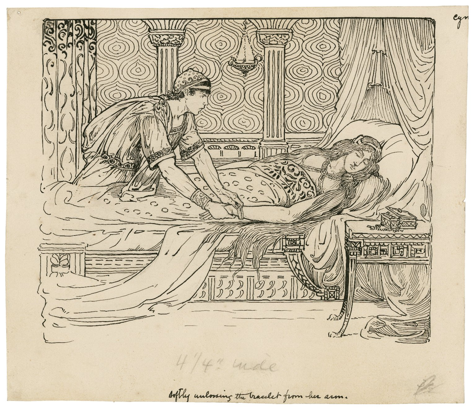 Softly unloosing the bracelet from her arm [graphic] / [Louis Rhead].