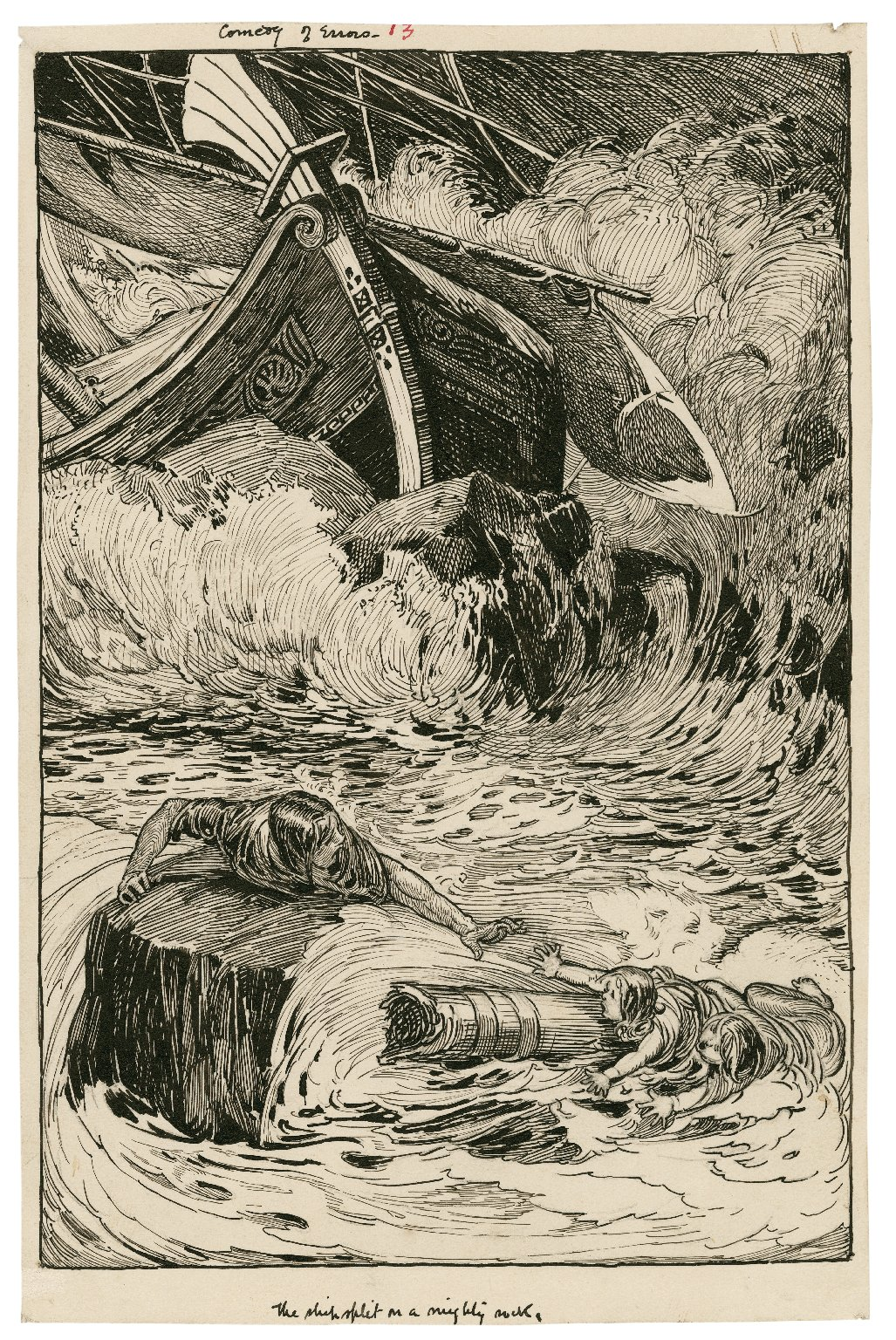 Comedy of Errors. The ship split on a mighty rock [graphic] / [Louis Rhead].