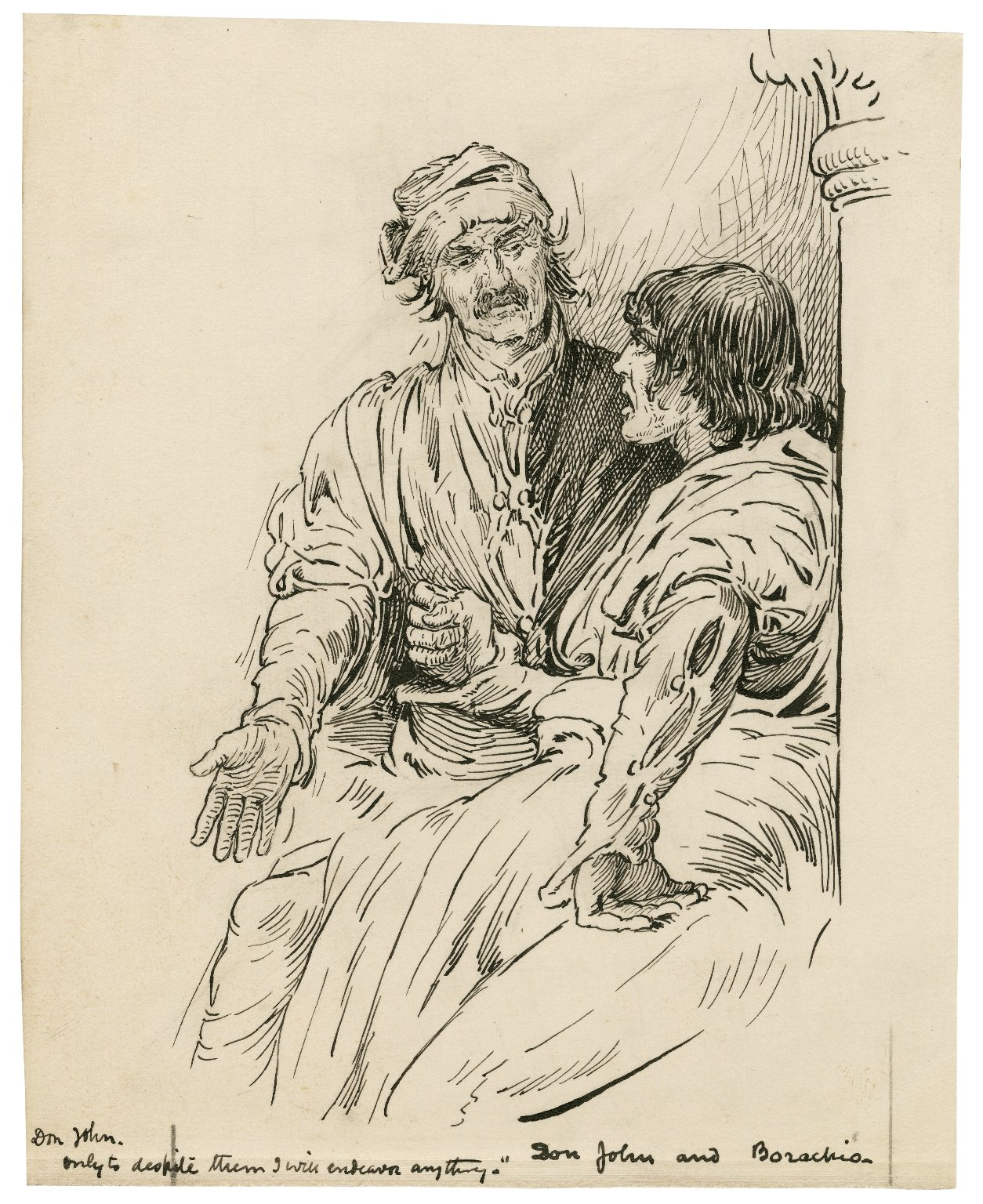 Don John and Borachio, Don John: Only to despite them I will endeavor anything [graphic] / [Louis Rhead].