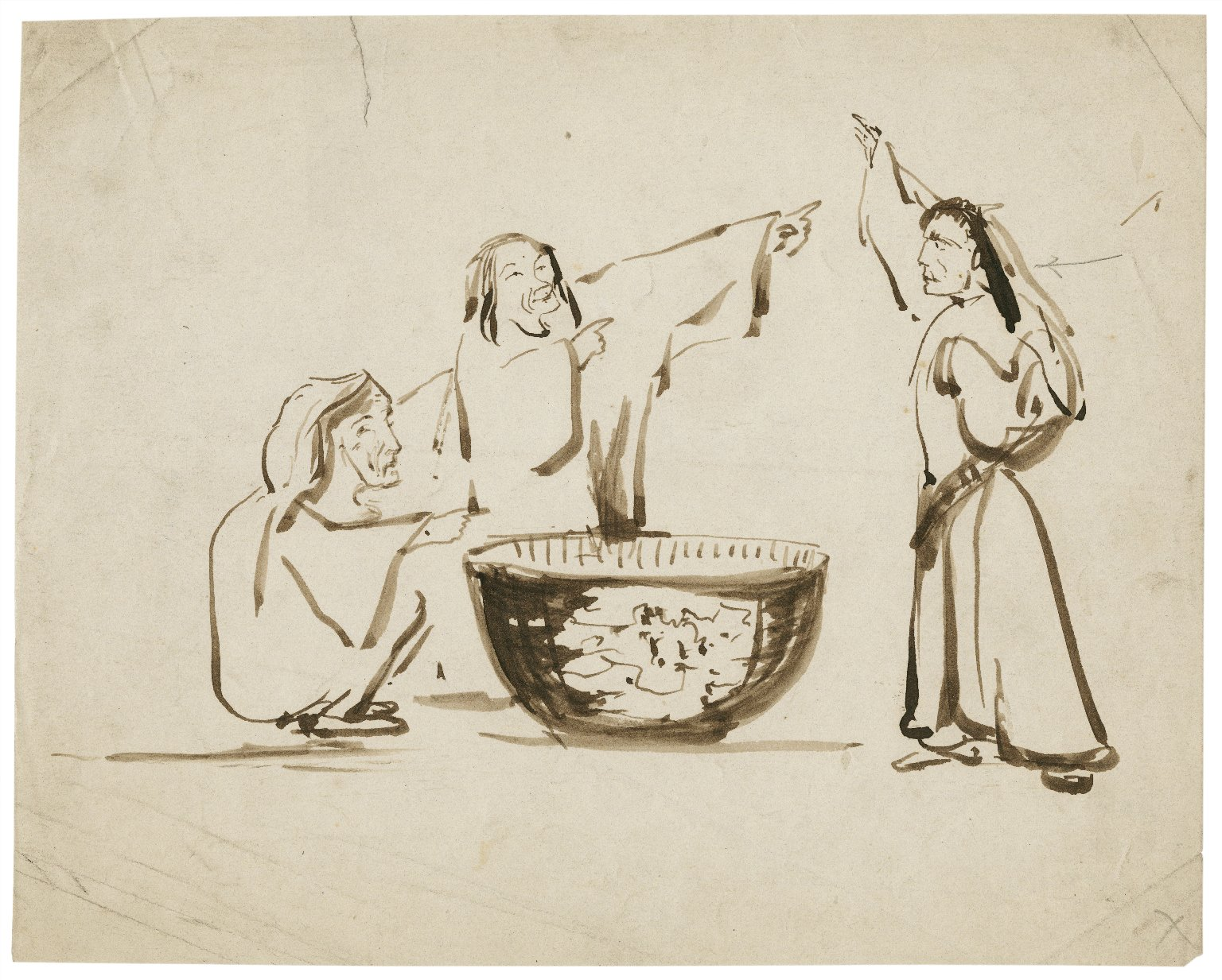 [Macbeth, the witches around their cauldron] [graphic].