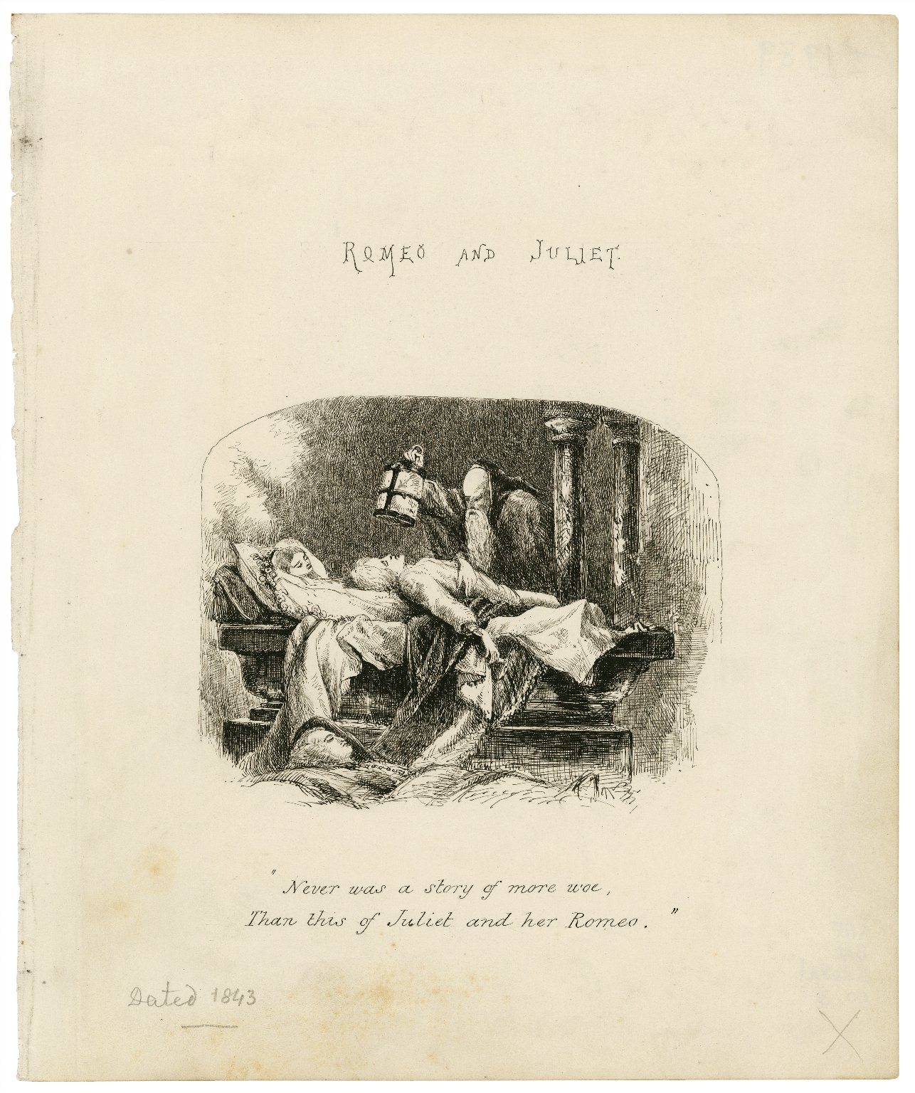 """Romeo and Juliet, [act V, scene 3]: """"Never was a story of more woe, than this of Juliet and her Romeo"""" [graphic]."""
