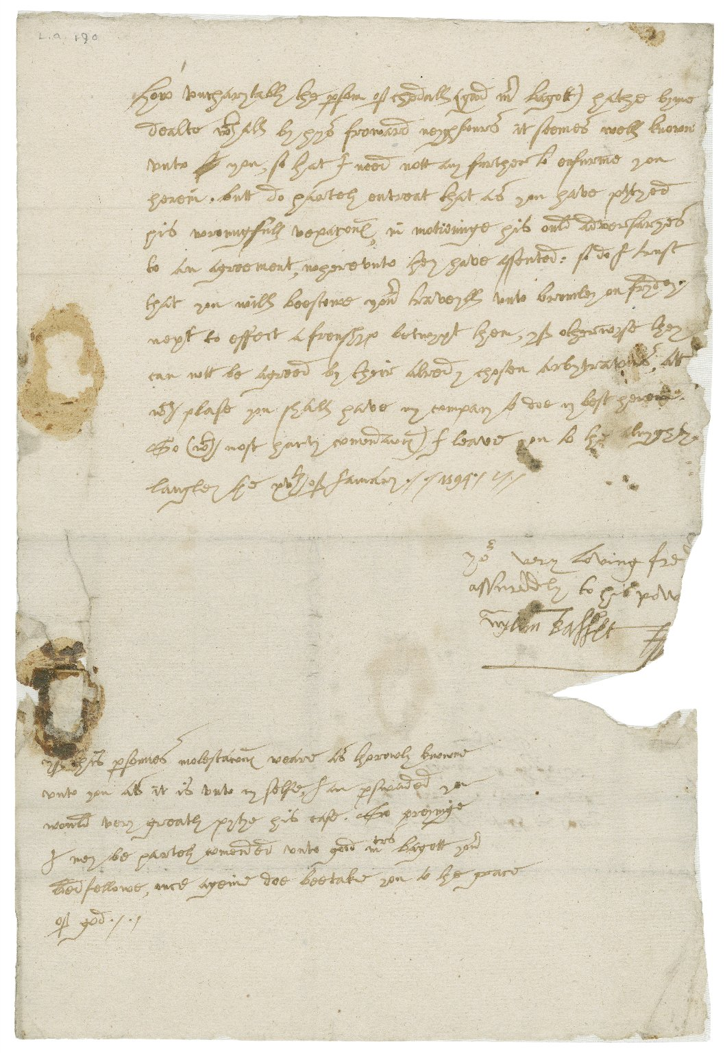 Letter from William Basset (of Blore), Langley, to Richard Bagot