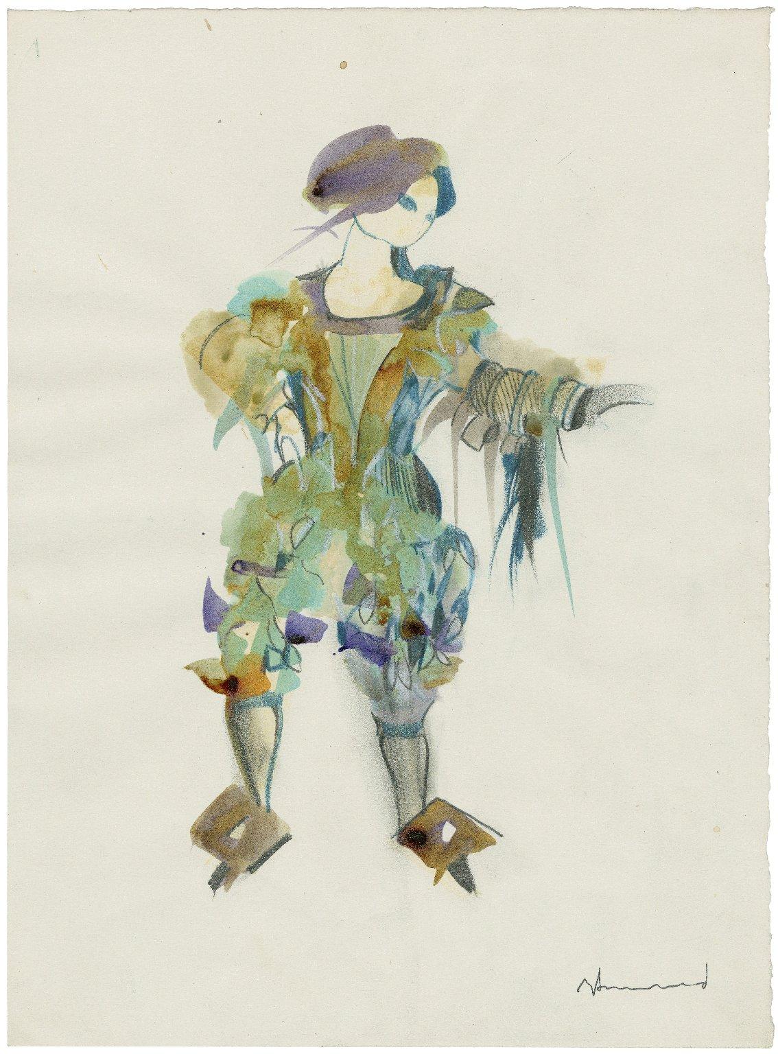 "Proposed costume design for a midget (sprite) for Derek Jarman's ""The Tempest"" 1979"