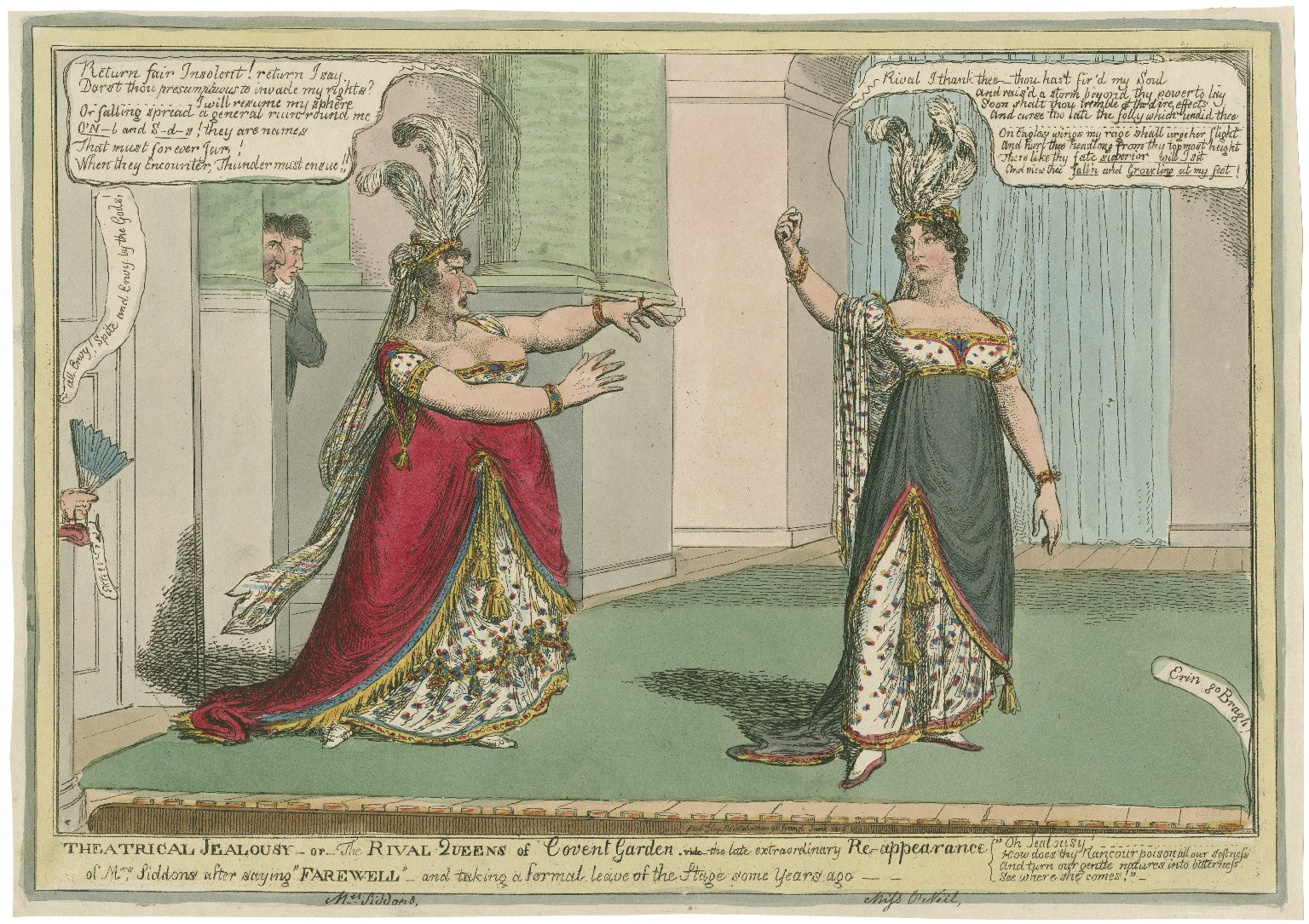 """Theatrical jealousy, or, the rival queens of Covent Garden : [graphic] vide the late extraordinary re-appearance of Mrs. Siddons after saying """"farewell"""" and taking a formal leave of the stage some years ago."""
