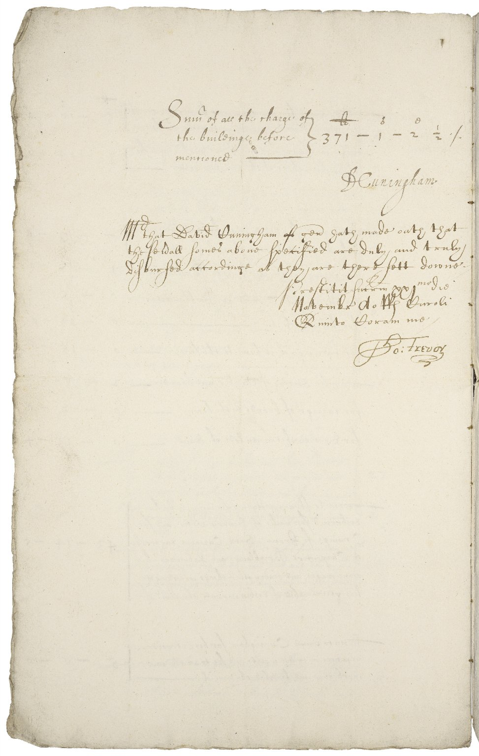 An accompt of the charge of repairinge his Majesties howse of Barkhampstead [manuscript], 1629 / directed and disbursed by David Cuningham.