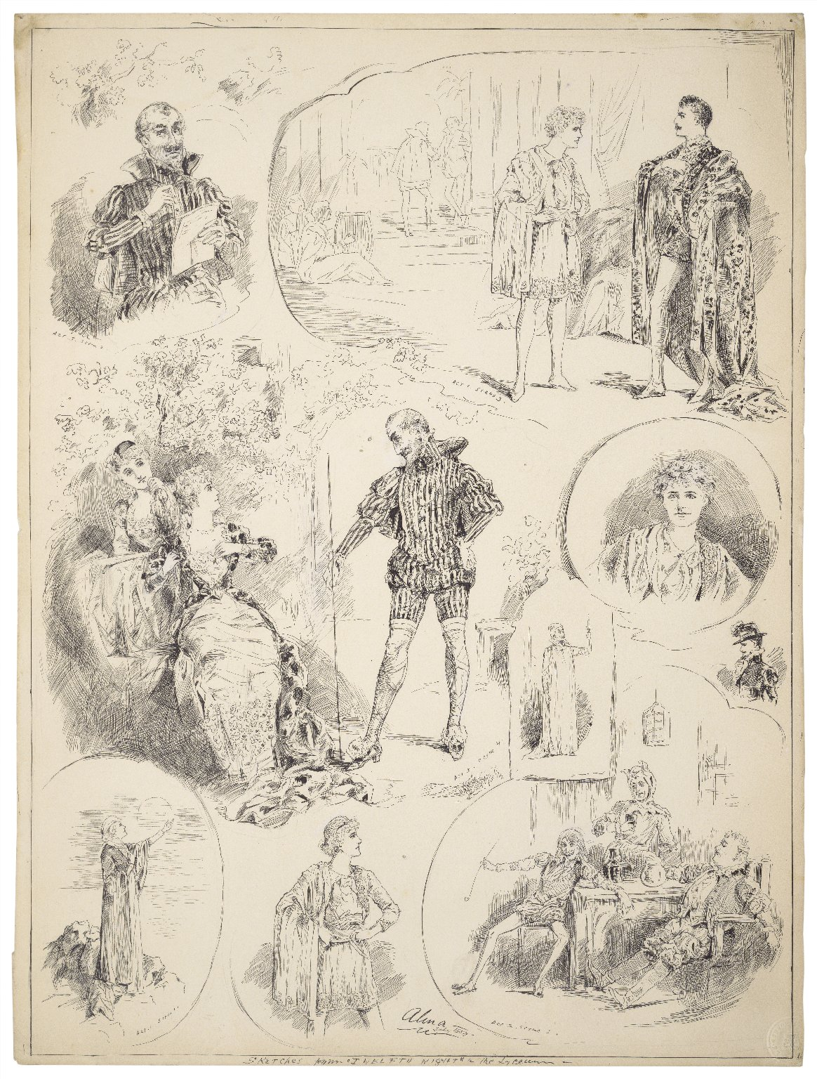 """Sketches from """"Twelfth night"""" at the Lyceum [graphic] / Alma, July 1884."""