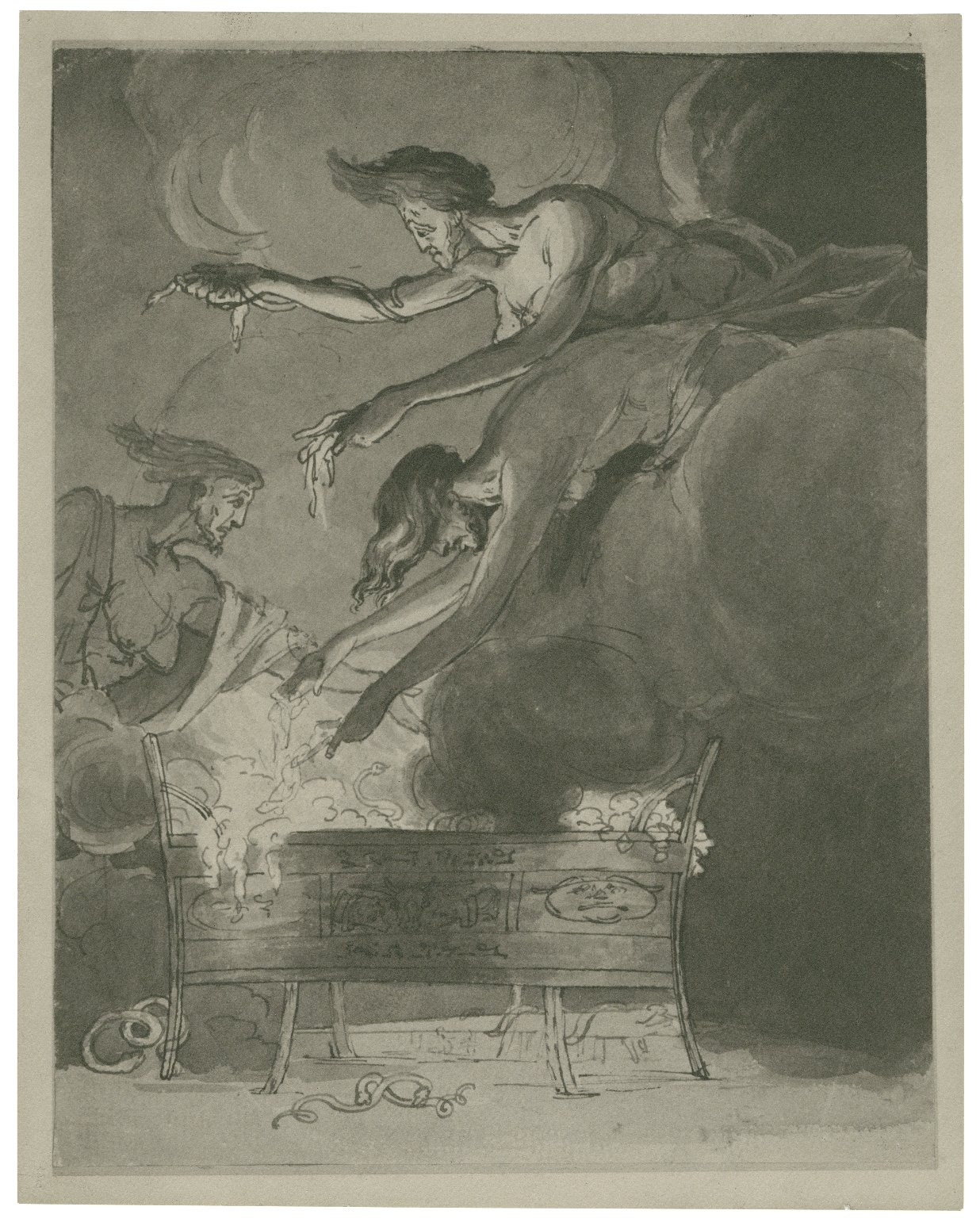 Macbeth. The three witches hovering over the couldron in the cave, IV.i.