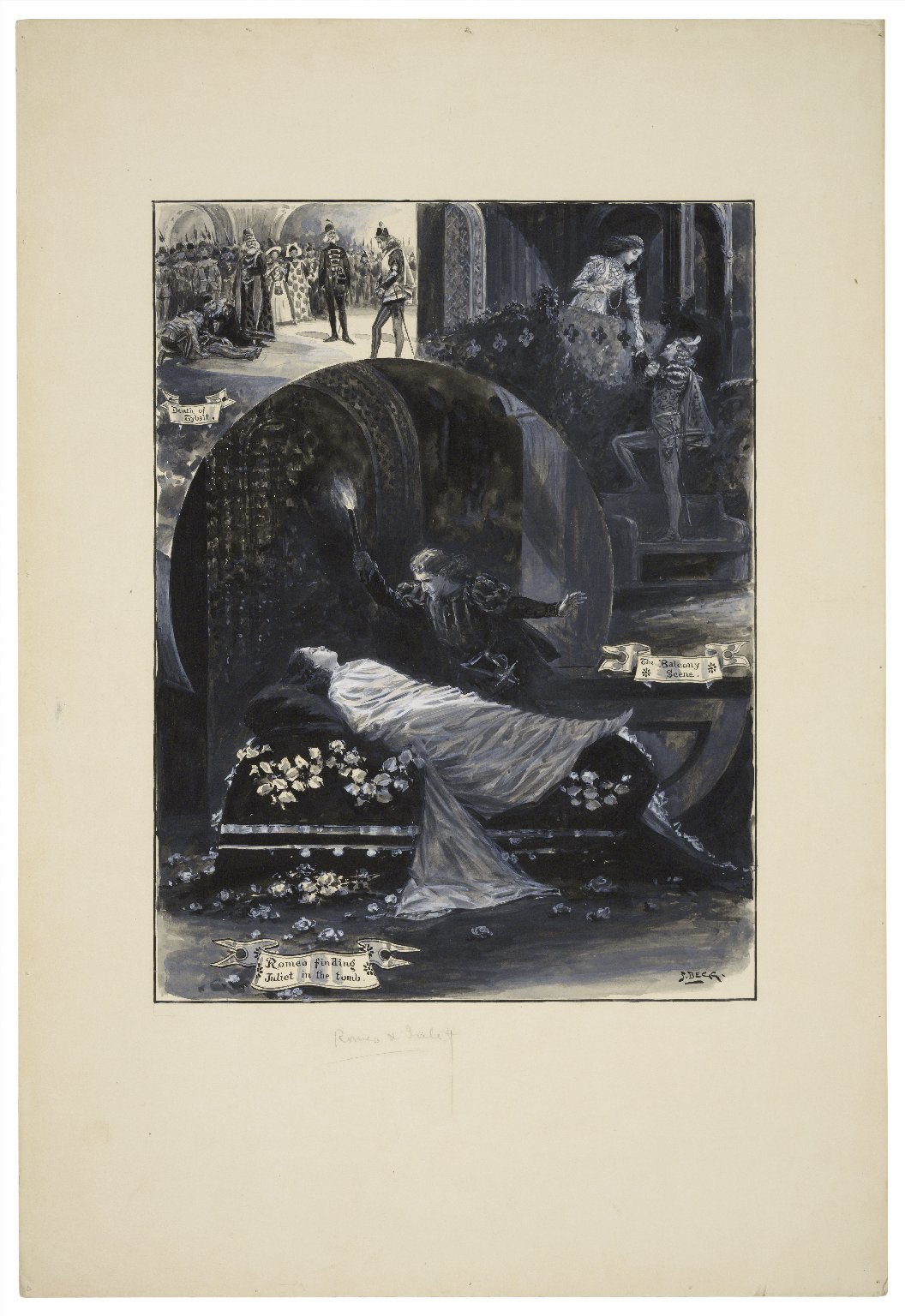 [Romeo and Juliet, three scenes:] Death of Tybalt ; The balcony scene ; Romeo finding Juliet in the tomb [graphic] / S. Begg.