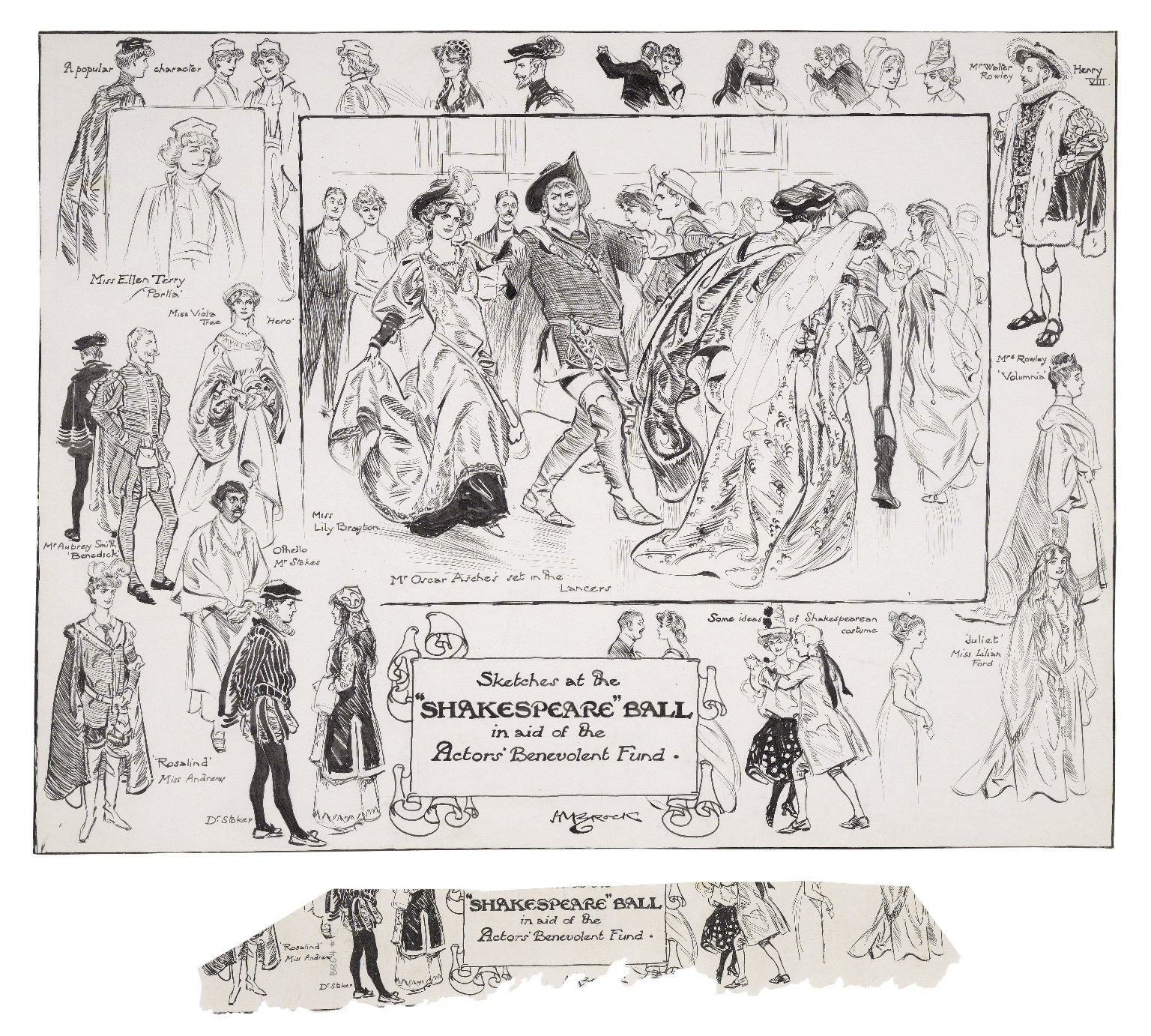 Sketches at the Shakespeare Ball in aid of the Actor's Benevolent Fund [May 13, 1905] [graphic] / H.M. Brock.