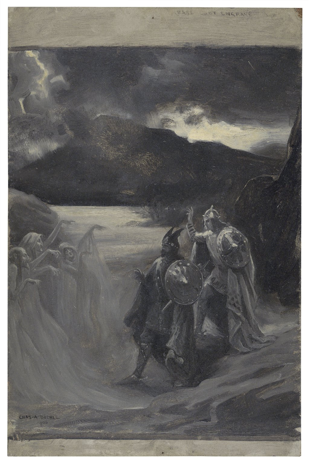 [Macbeth and the three witches] [graphic] / Chas. A. Buchel.