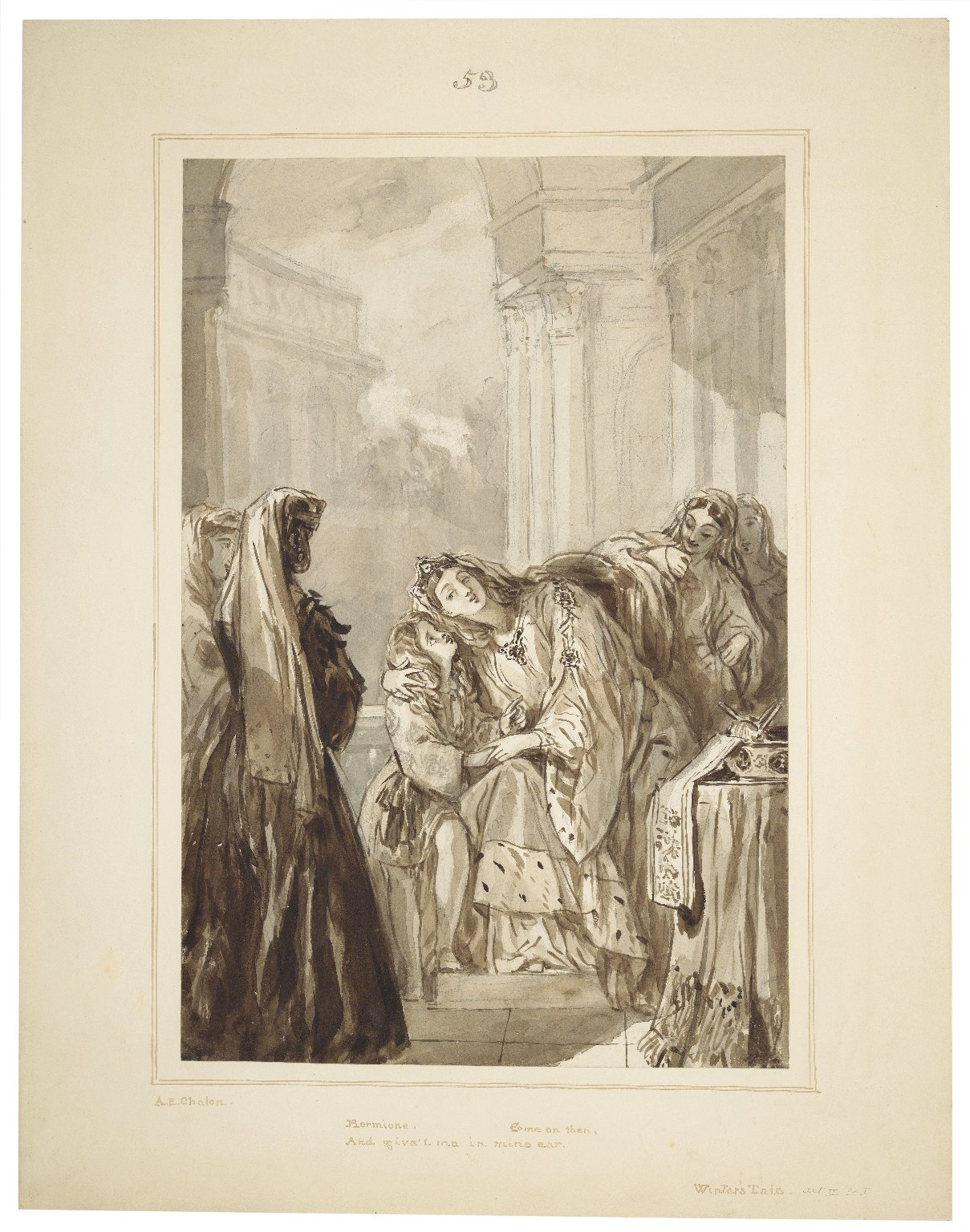 """Winter's tale, II,1, Hermione: """"Come on then, and give't me in mine ear"""" [graphic] / [Alfred Edward Chalon]."""