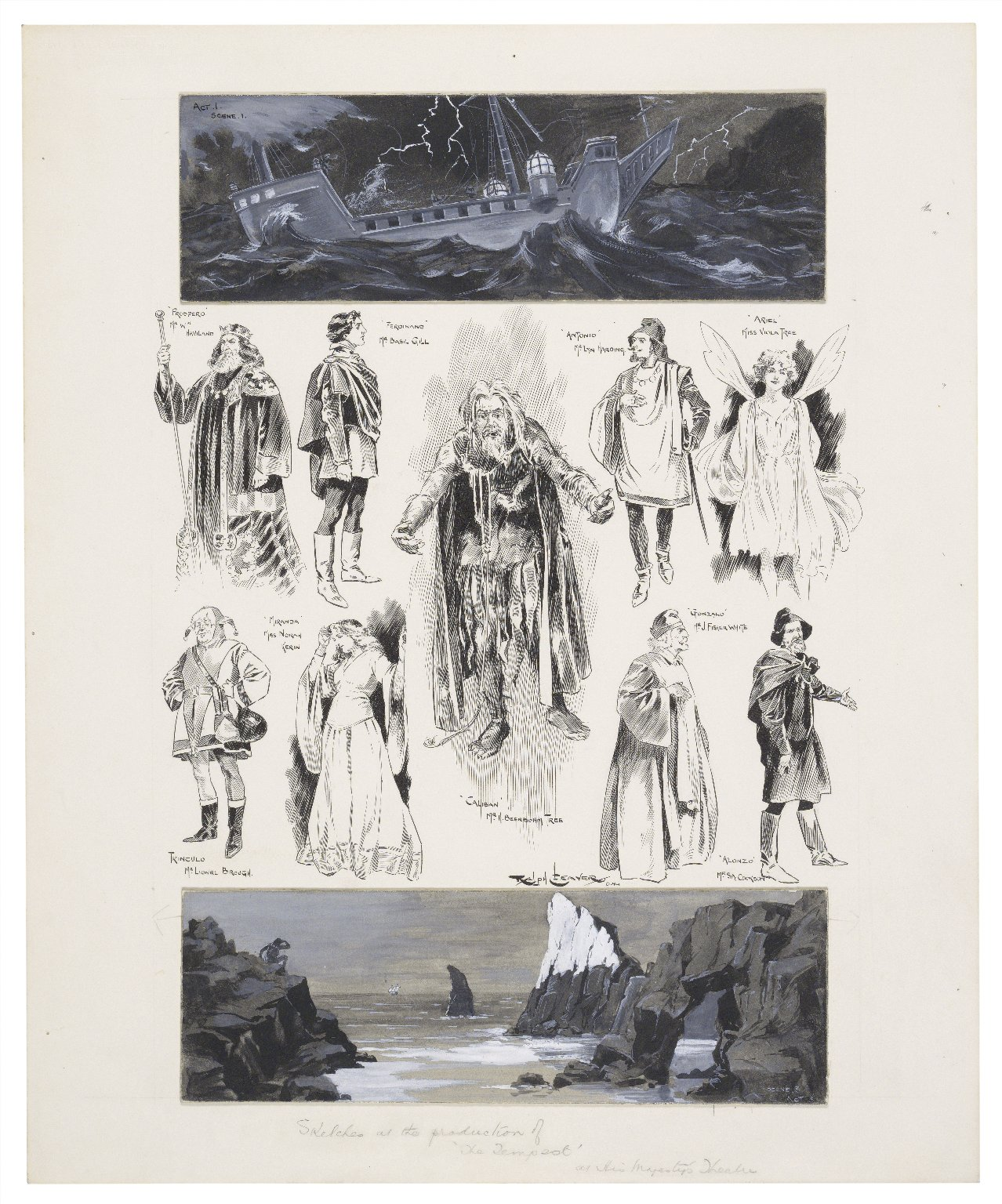Sketches at the production of the Tempest at His Majesty's Theatre [graphic] / Ralph Cleaver.