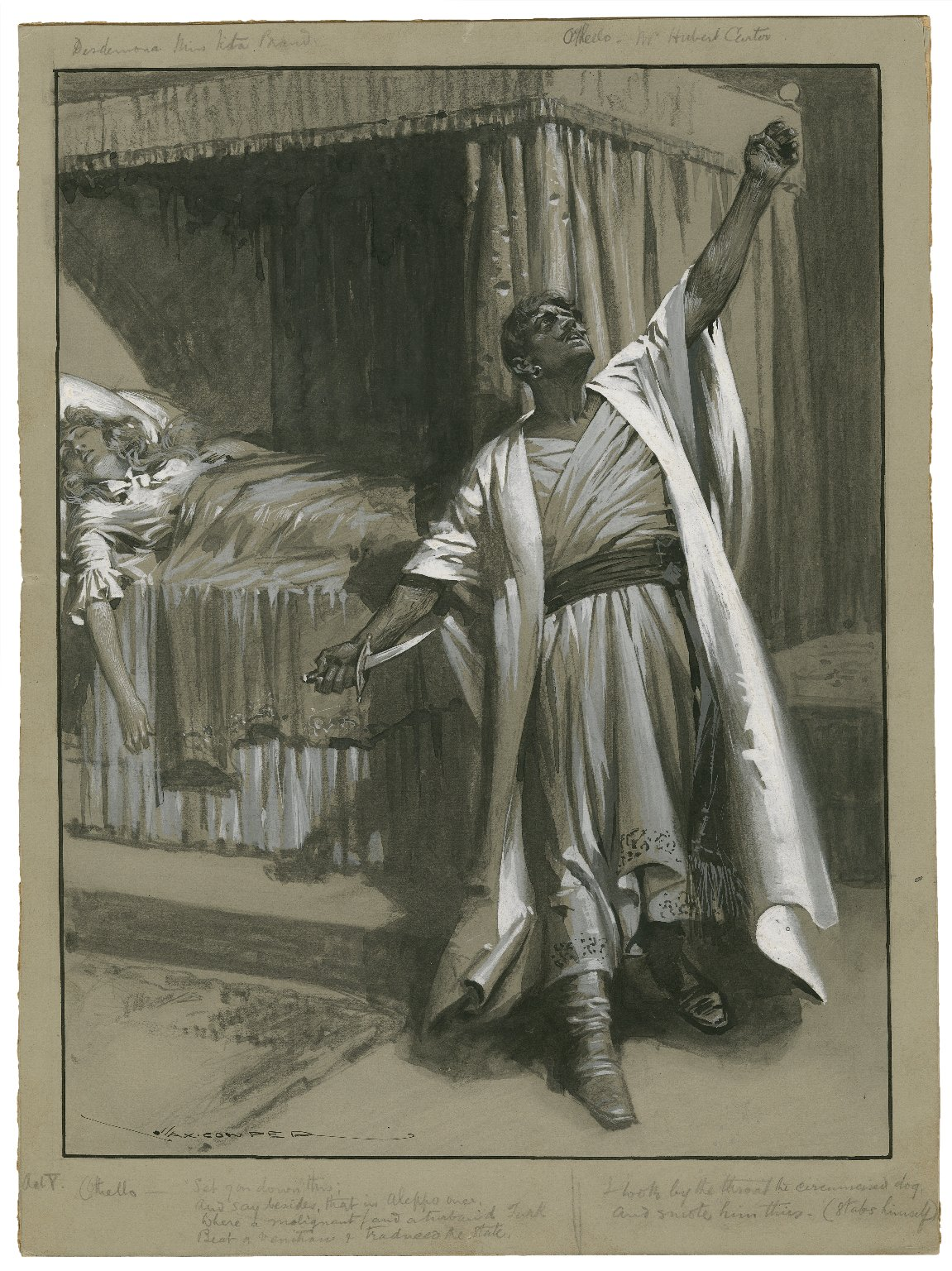 """Othello, V, 2 [at the Shaftesbury] Othello: """"Set you down this ... I took by the throat the circumcised dog and smote him thus"""" Miss Tita Brand as Desdemona, Mr. Hubert Carter as Othello [graphic] / Max Cowper."""