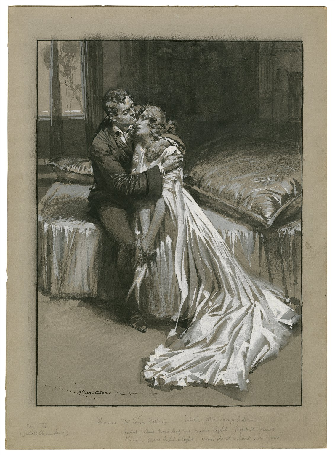 """Romeo and Juliet, III, 5, Mr. Lewis Waller as Romeo, and Miss Evelyn Millard as Juliet at the Imperial Theatre, Juliet: """"And now begone, more light and light it grows,"""" Romeo: """"More light and light, more dark and dark our woes!"""" [graphic] / Max Cowper."""