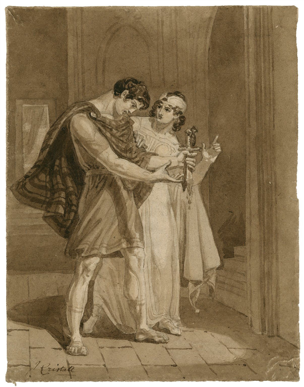 [Macbeth, II, 2, Macbeth and his wife after the murder of Duncan] [graphic] / J. Cristall.