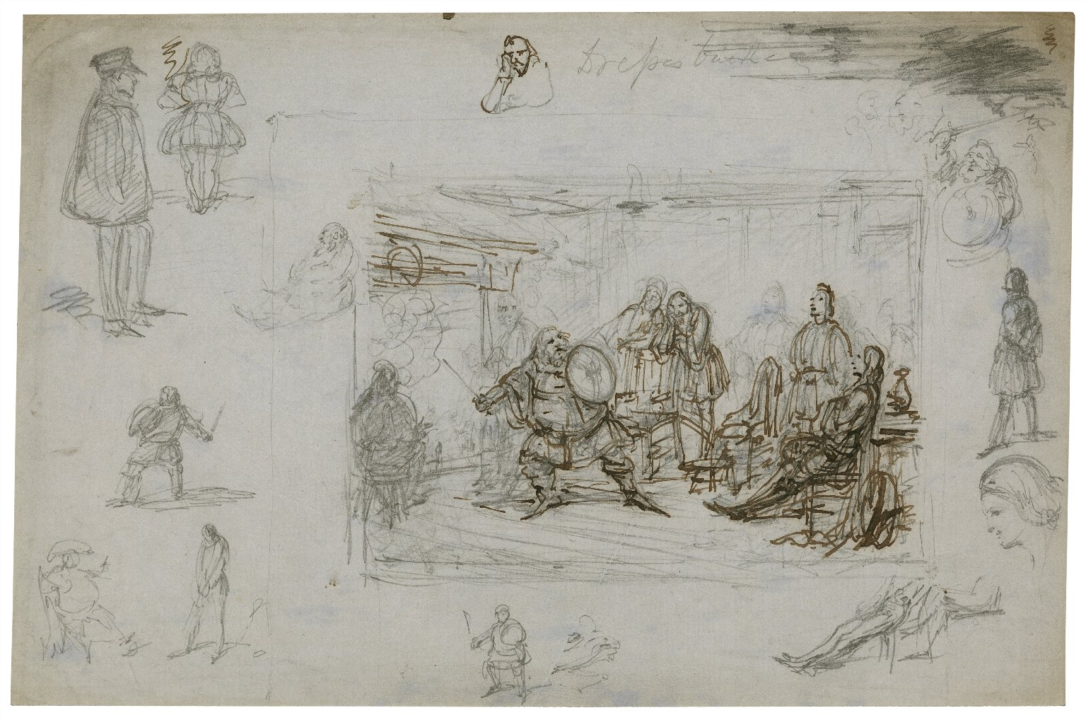 [Preliminary sketch of Falstaff giving his account of the affairs at Gadshill] [graphic] / Geo. Cruikshank.