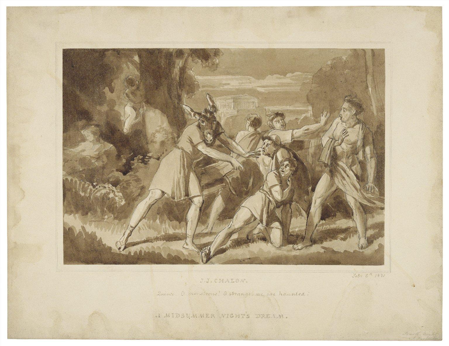 A midsummer night's dream, Quince: O monstrous! [III, 1] [graphic] / [John James Chalon].