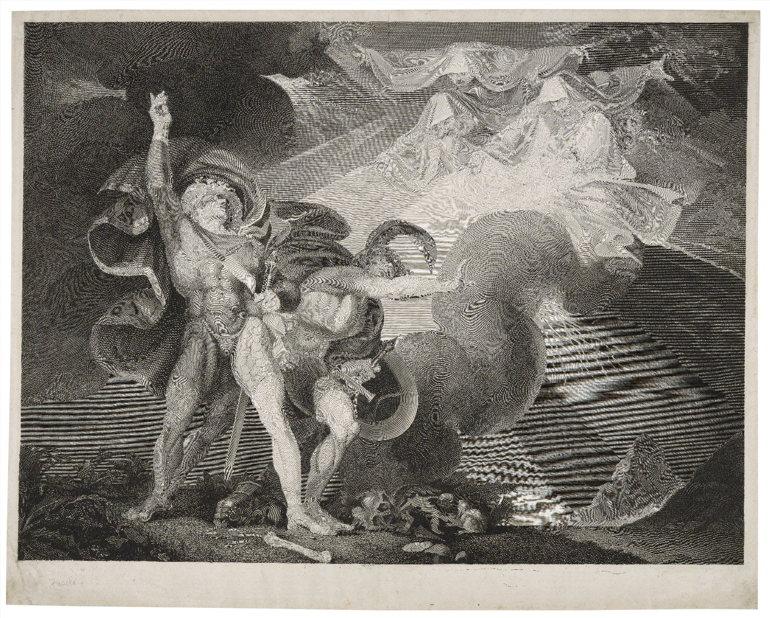 Macbeth, act I, scene III. A heath: Macbeth, Banquo, & three witches [graphic] / painted by H. Fuseli ; engraved by Jas. Caldwall.