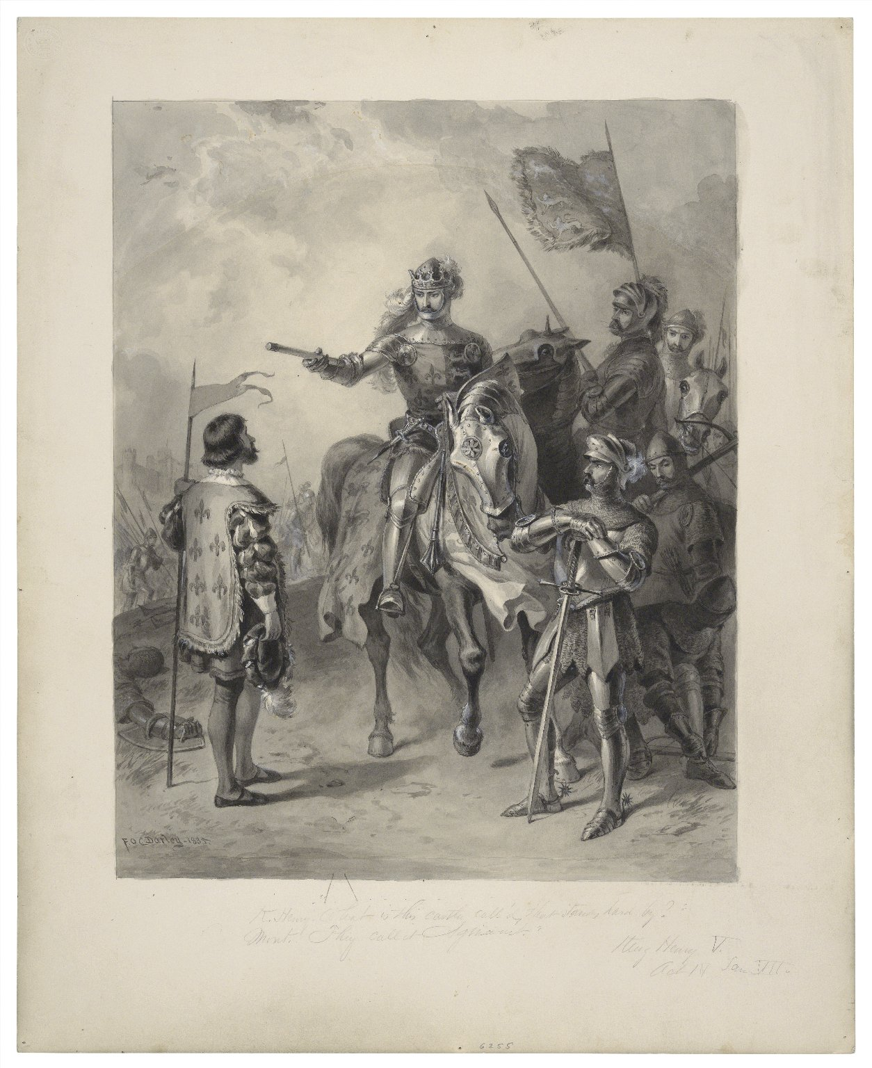 """K. Henry. """"What is this castle call'd that stands hard by?"""" Mont. """"They call it Agincourt"""", King Henry V, act IV, scene VII [graphic] / F.O.C. Darley, 1885."""