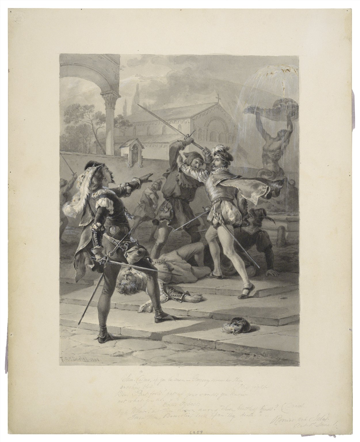"""Sam. """"Draw, if you be men"""" ... Tyb. """"What! art thou drawn among these heartless hinds? (draws) Turn thee, Benvolio, look upon thy death"""", Romeo and Juliet, act 1st, scene I [graphic] / F.O.C. Darley, 1884."""